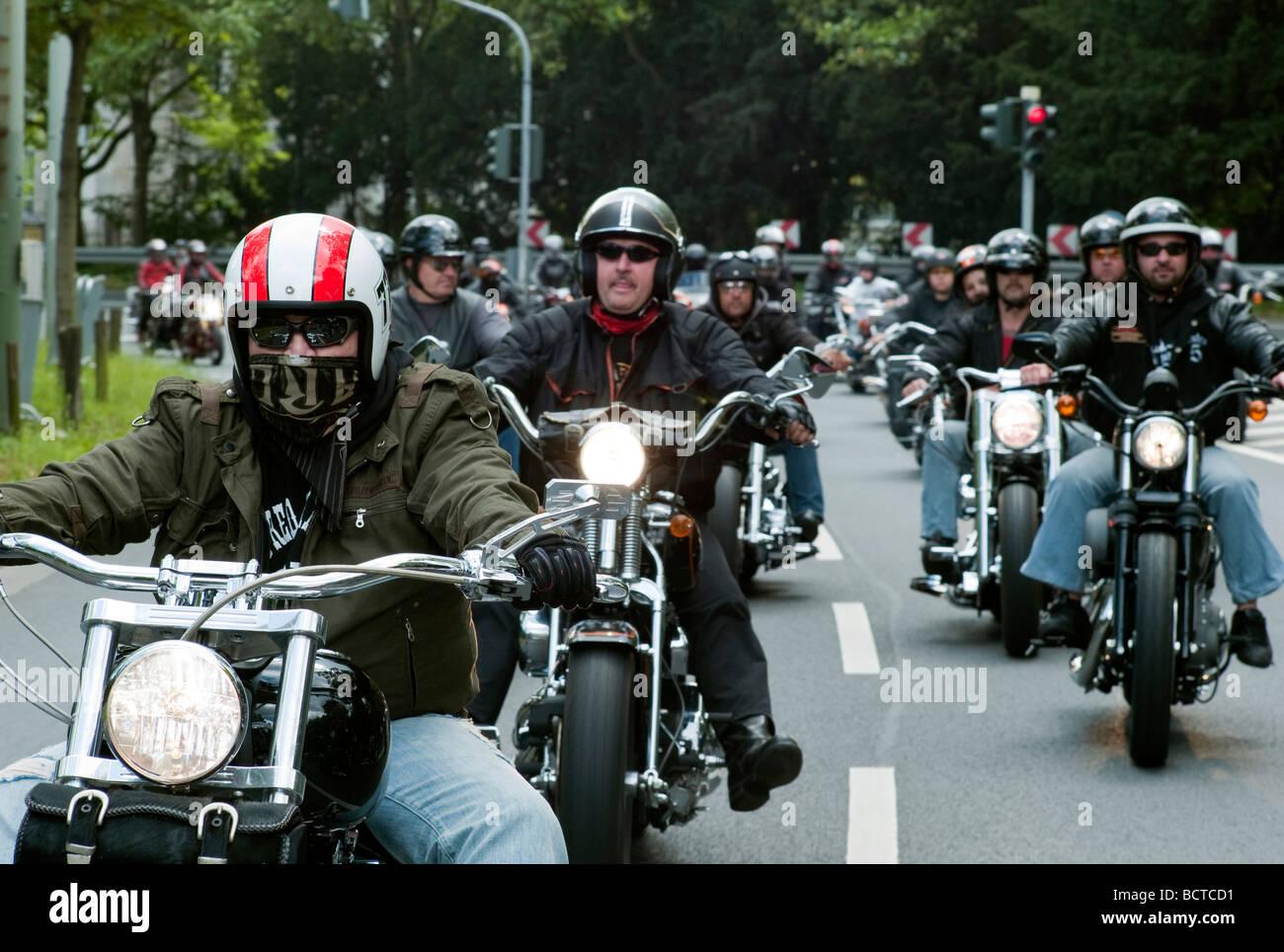 Motorrad-Parade, Crime City Run, Frankfurt am Main, Hessen, Deutschland, Europa Stockbild