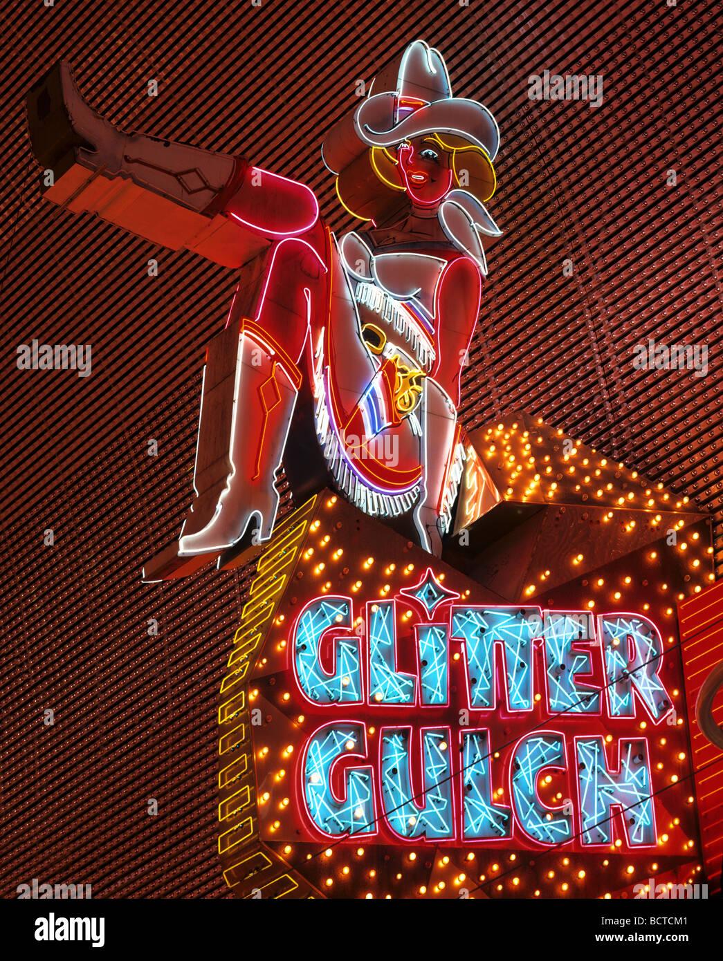 Vicky, Neon Werbung, Glitter Gulch, Cowboy, Las Vegas, Nevada, USA Stockbild