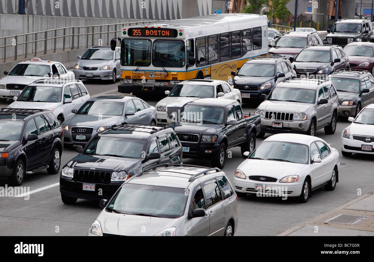 Stadtbus, Feierabendverkehr, Boston Stockbild