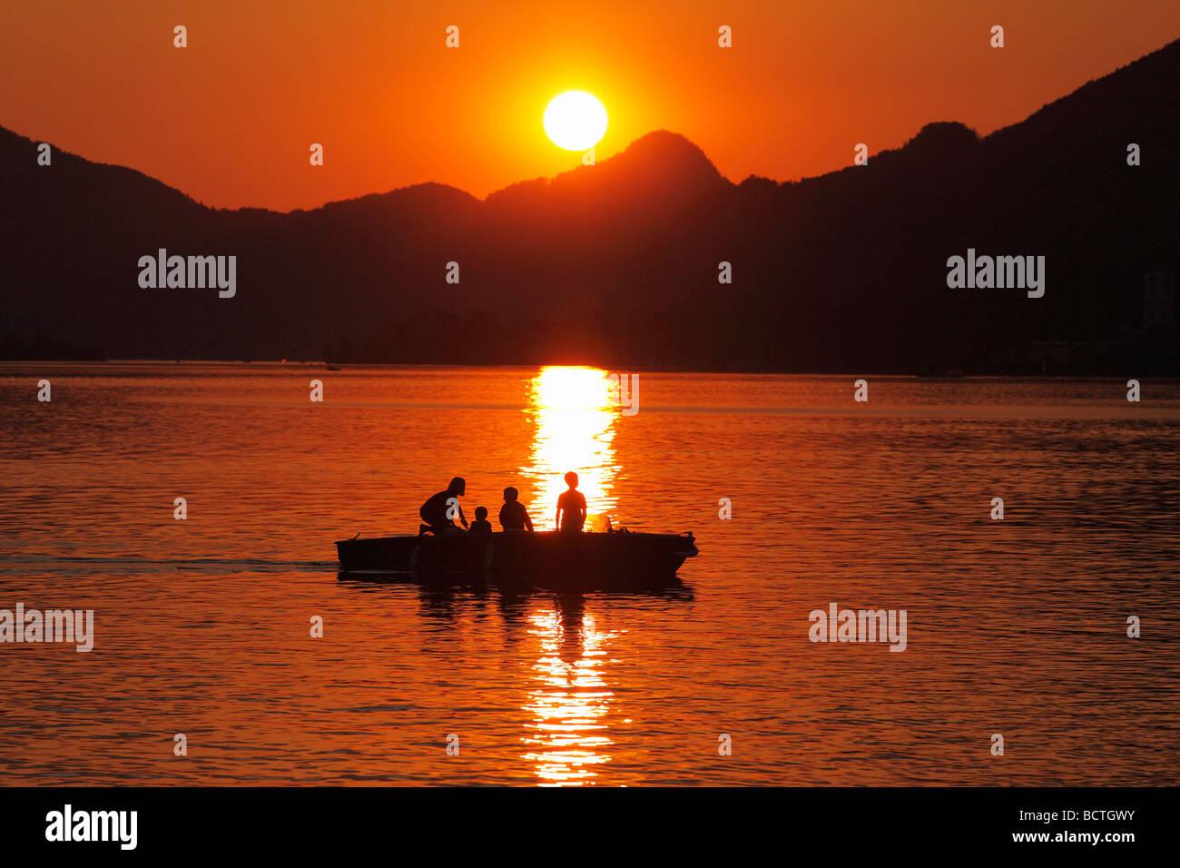 Abendstimmung in Strobl, Wolfgangsee See, Salzkammergut Region, Oberösterreich, Österreich Stockbild
