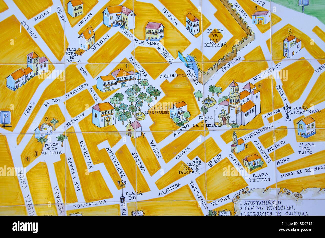 Malaga Karte Spanien.Keramische Karte Von Old Town Plaza De Los Naranjos