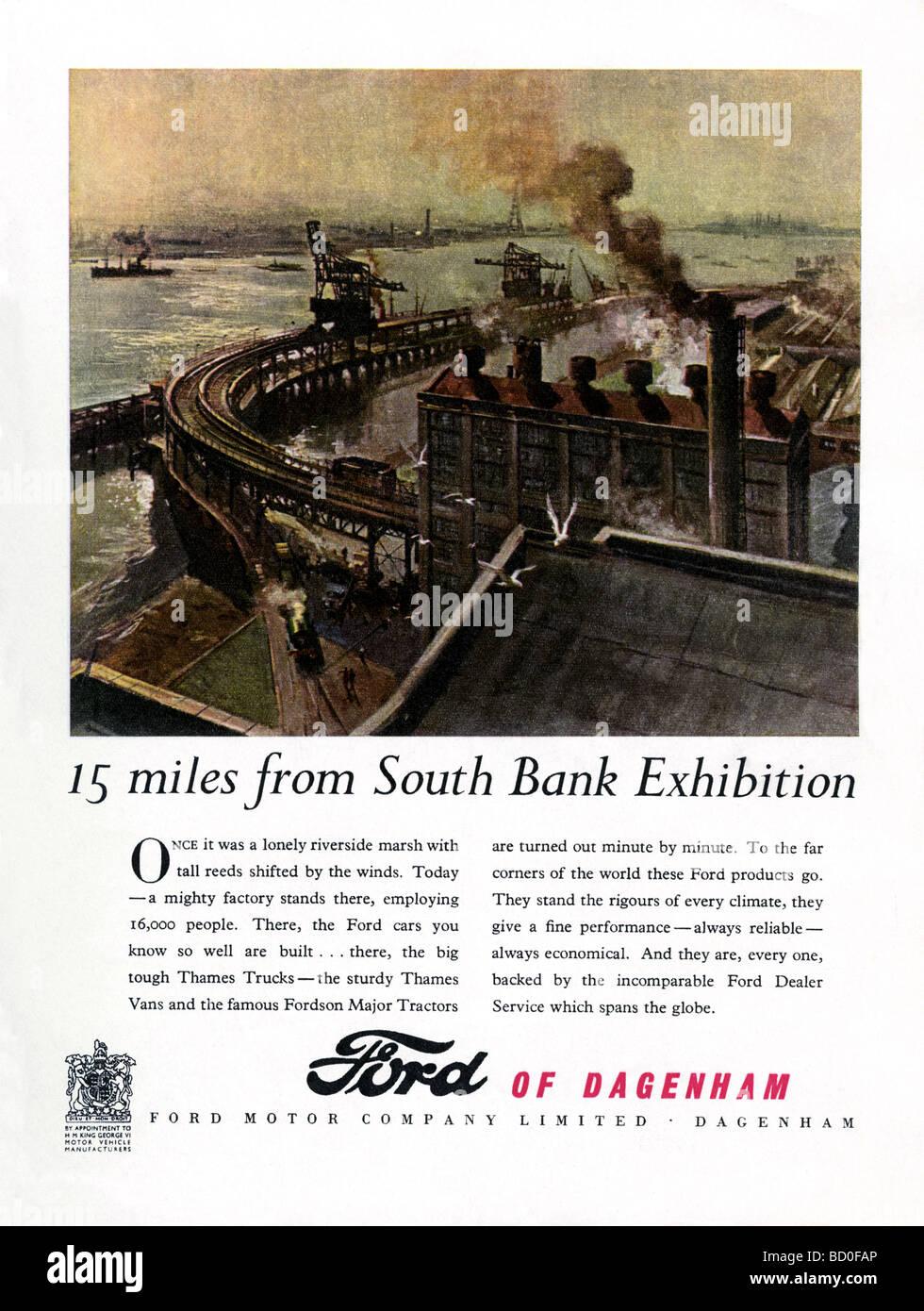 1951-Werbung für die Ford Motor Company, Dagenham mit einer Illustration von der Fabrik an der Themse Stockbild