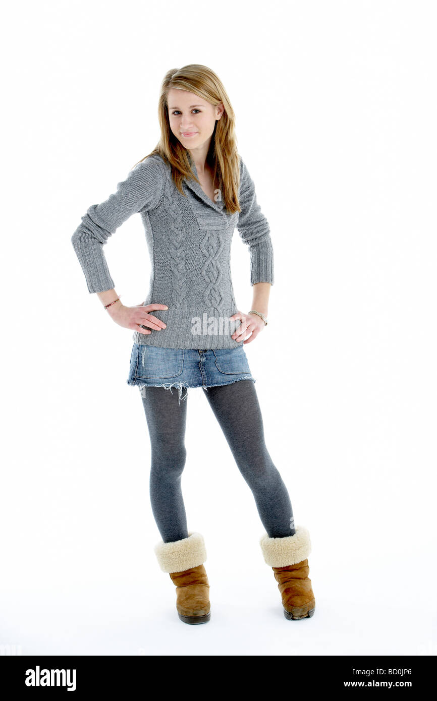 Full Length Portrait Of Teenager-Mädchen Stockbild