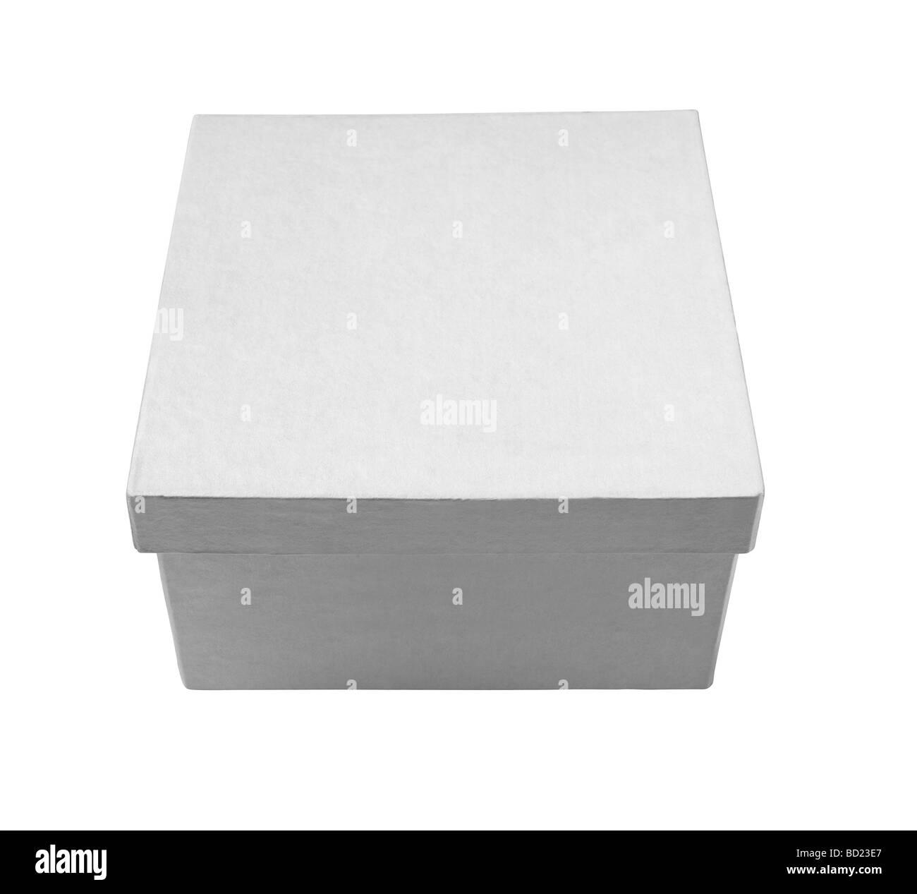 Weiße geschlossene quadratische Geschenk Geschenkbox erhöht, Ansicht Stockbild
