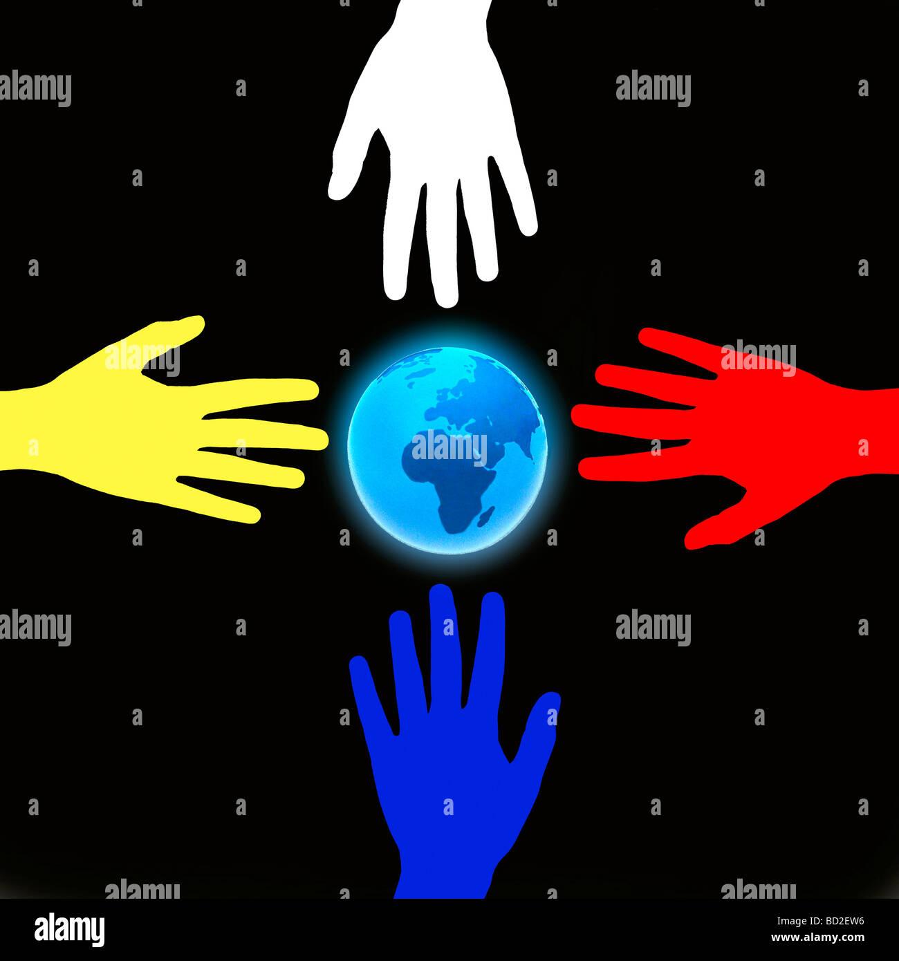 Hände und Erde Stockbild