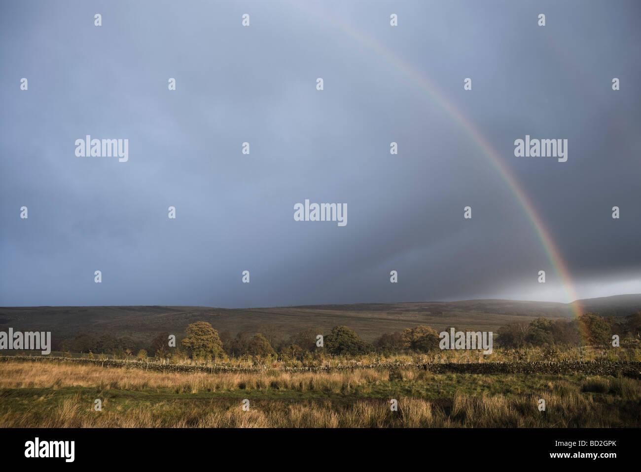 Regenbögen Ende in Landschaft Stockbild