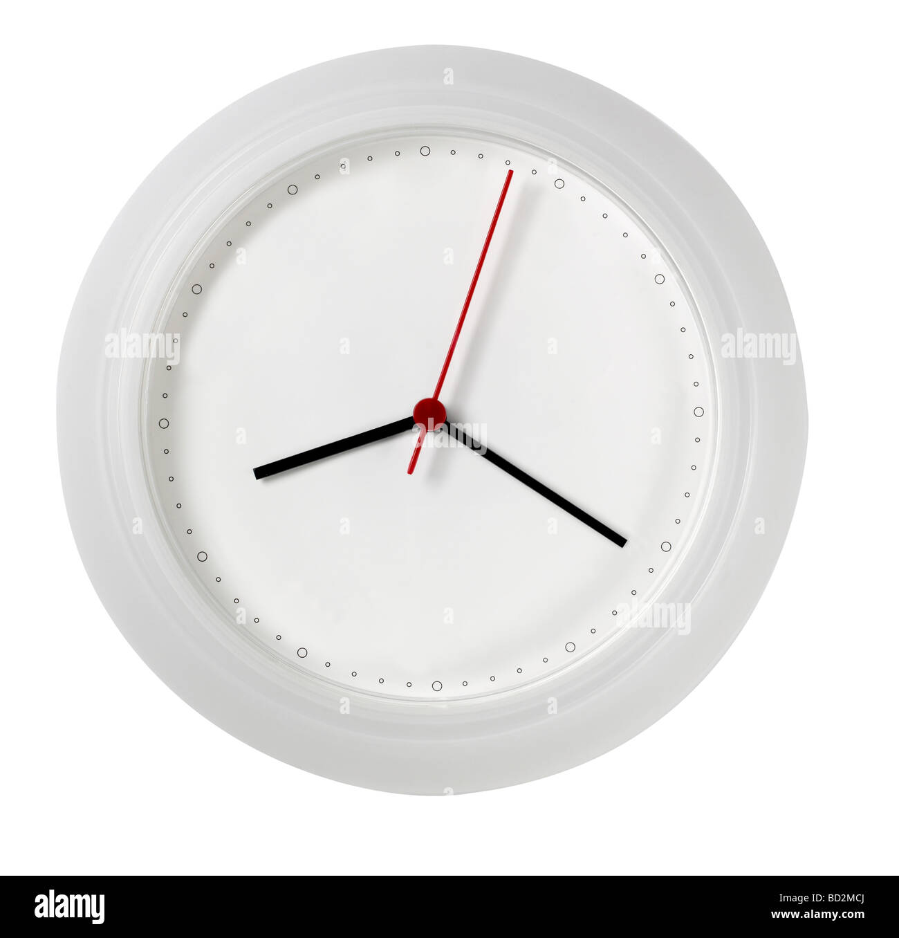 White Wall Clock mit keine Zahlen ausdrucksloses Gesicht Stockbild