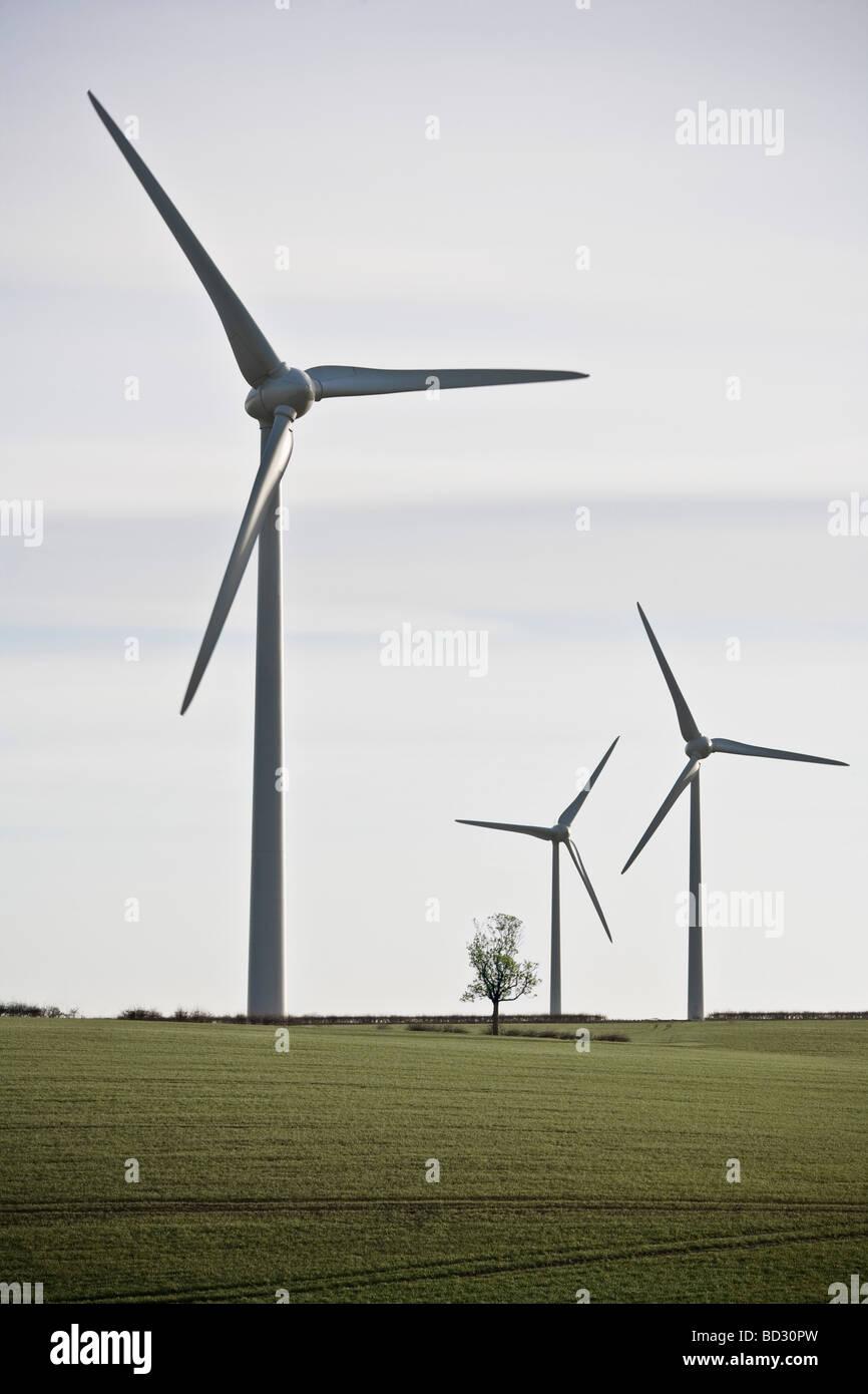 Windkraftanlagen in grüne Landschaft Stockbild