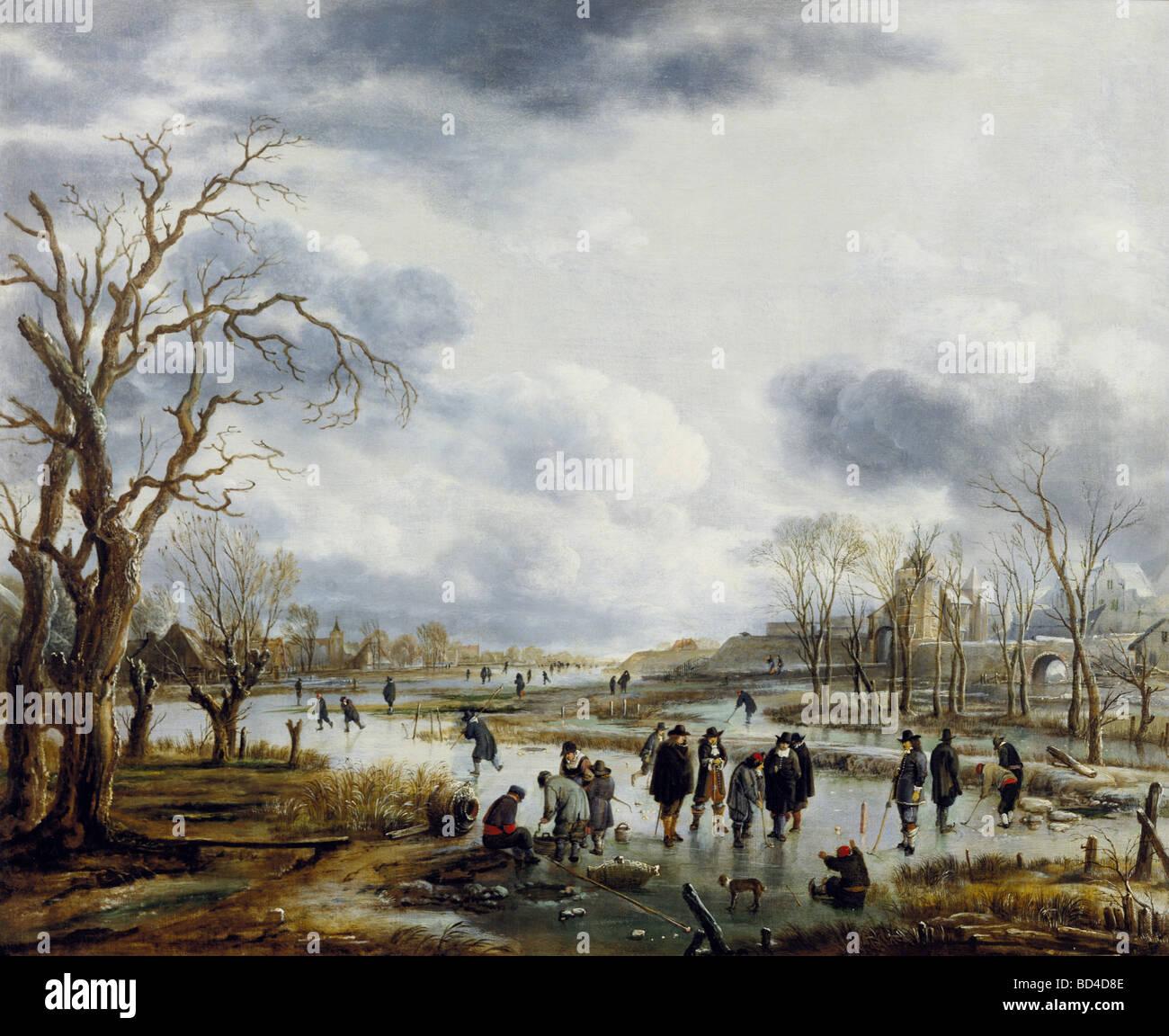 """Bildende Kunst, Neer, Art van der (1603-1677), Malerei, """"Ijsvermaak Buiten de Stadtswal', Cooectie Museum, Stockbild"""