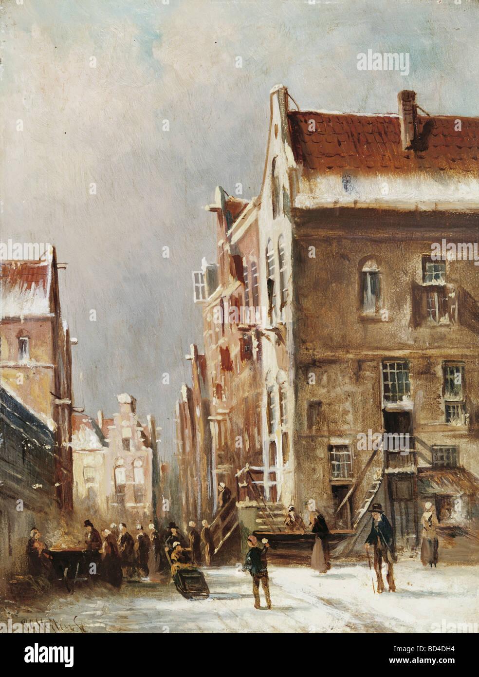 """Bildende Kunst, Vertin, Pieter Gerardus (1819-1893), Malerei, """"Kleinstadt im Schnee"""", Galerie Hessler, München, Stockfoto"""