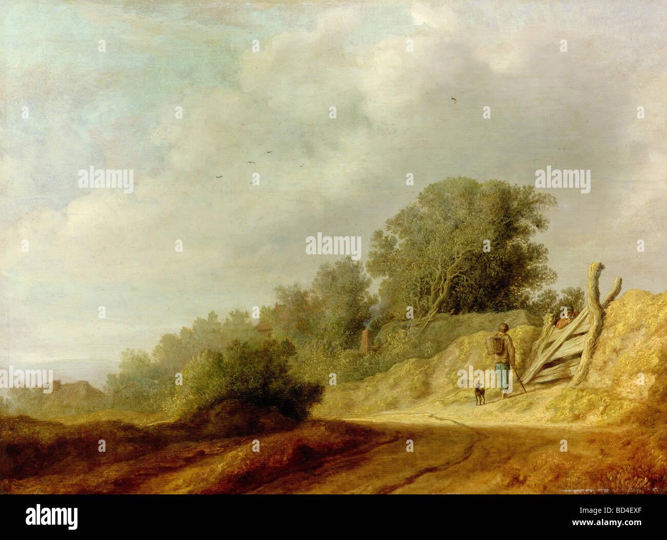 """Bildende Kunst, Ruysdael, Salomon, (ca. 1600-1670), Malerei, """"Landschaft mit Weg"""", National Gallery, Prag, Tschechische Stockfoto"""