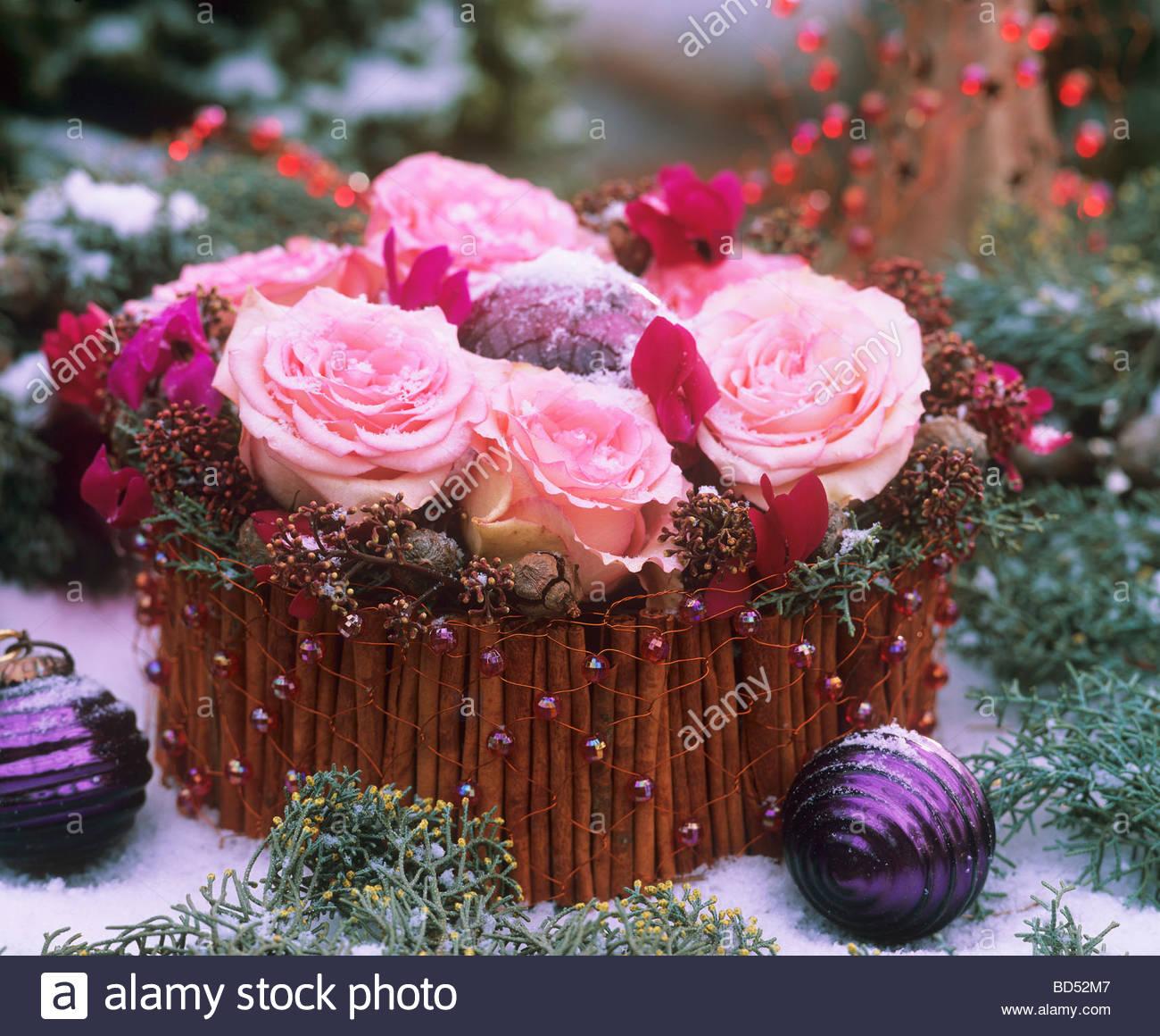 Flower Arrangement For Advent Stockfotos Flower Arrangement For