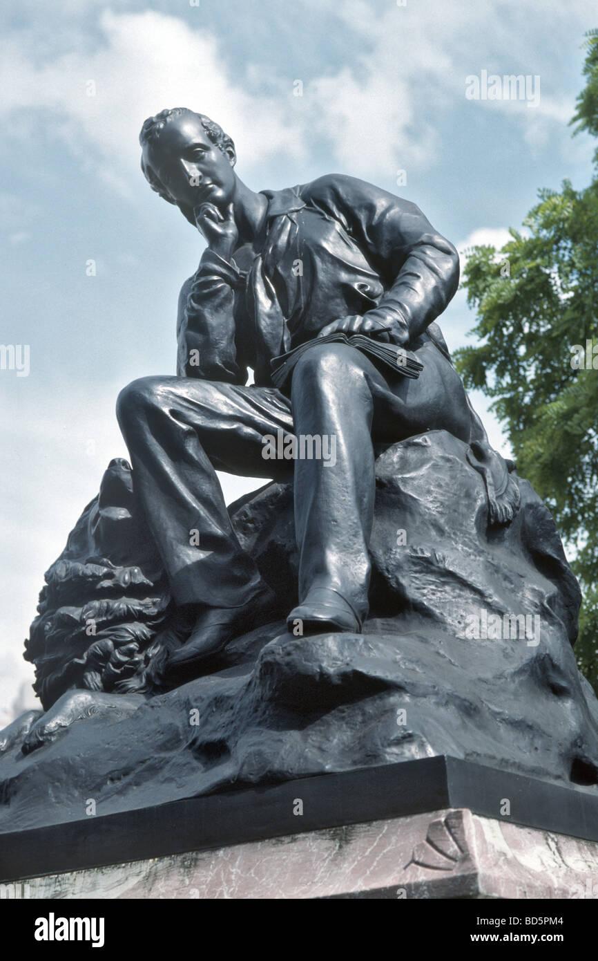 Statue von Lord Byron in der Park Lane Stockbild