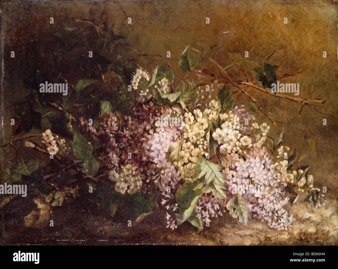 """Bildende Kunst, Scholderer, Otto (1834-1902), Malerei, """"Stilllife mit lila"""" (""""Fliederstilleben""""), um 1860, Lindenau Stockfoto"""