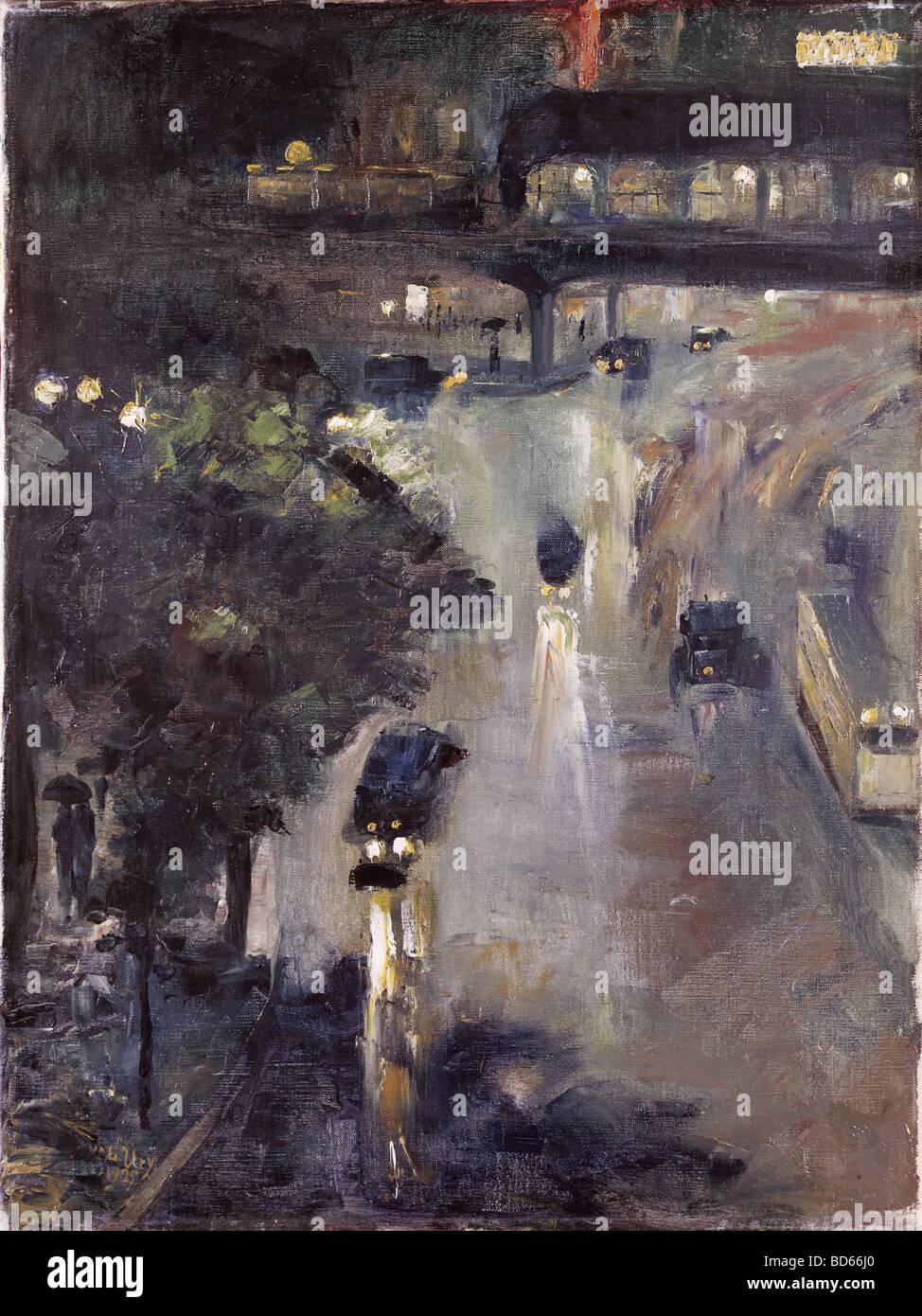 """bildenden Künste, Ury, Lesser (1861-1931), Malerei """"Nollendorfplatz in der Nacht"""", Öl auf Leinwand, Stockbild"""