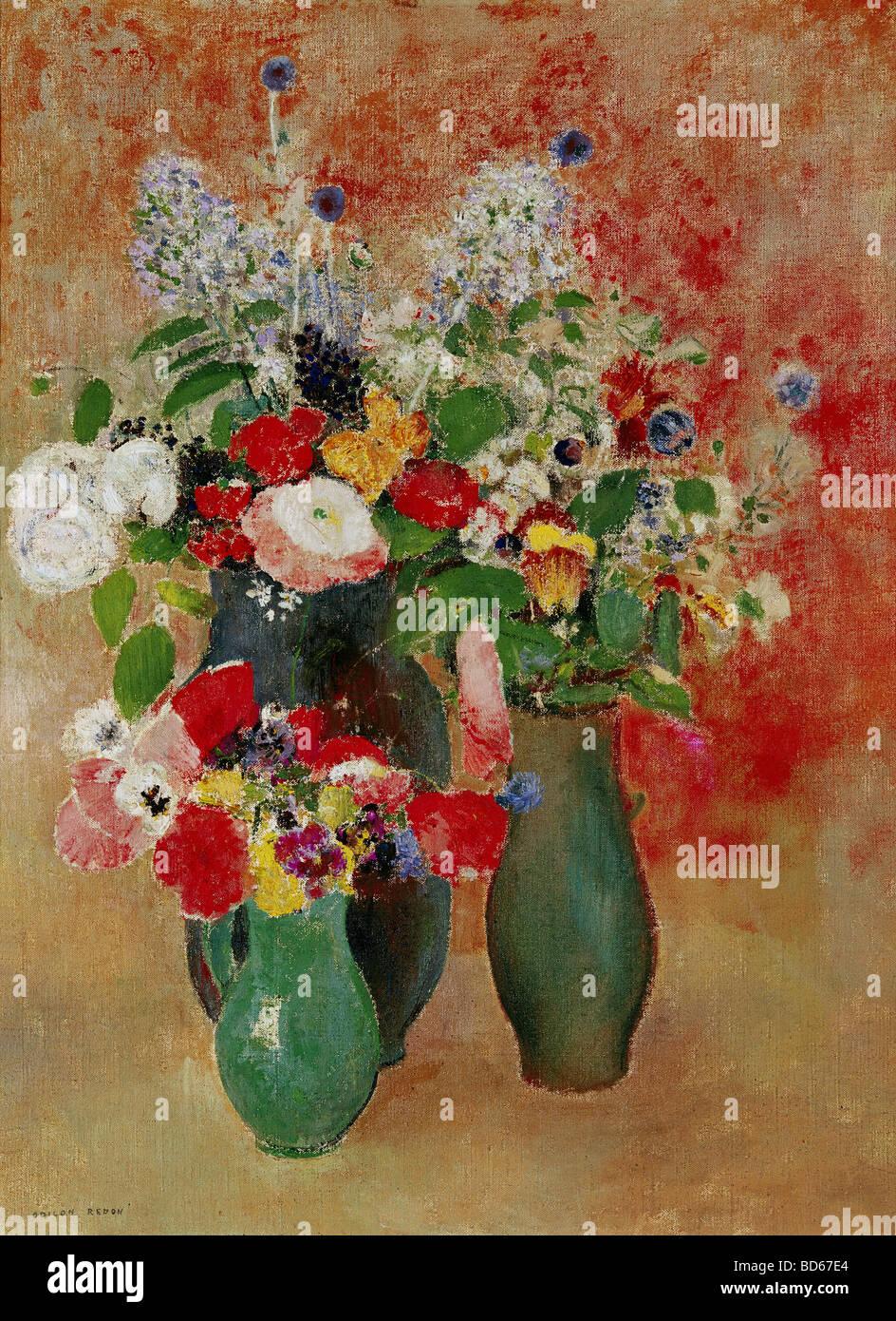 """Bildende Kunst, Redon, Odilon, (22.4.1840 - 6.7.1916), Malerei, """"Blumen Stilleben"""", Von der Heydt-Museum, Stockbild"""