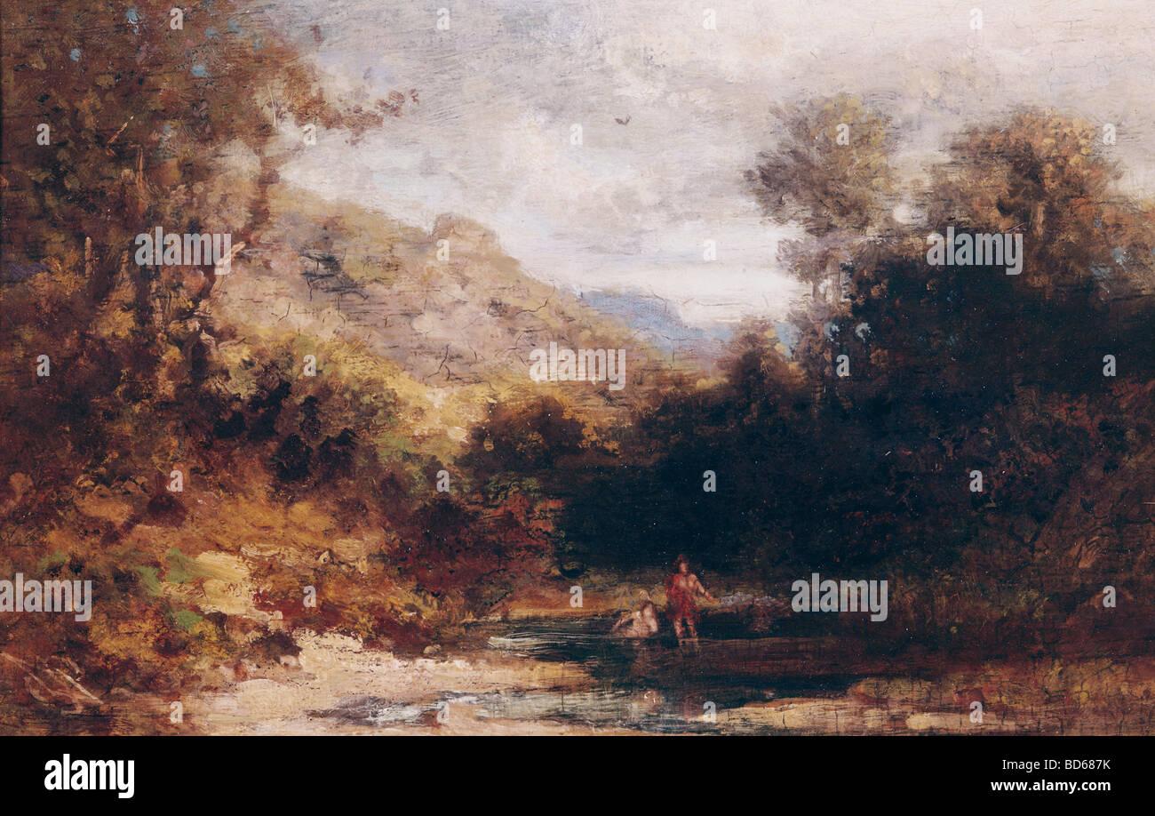 Bildende Kunst, Spitzweg, Carl (1808 – 1885), Malerei, Baden Menschen, private Sammlung, München, Karl, Deutsch, Stockfoto