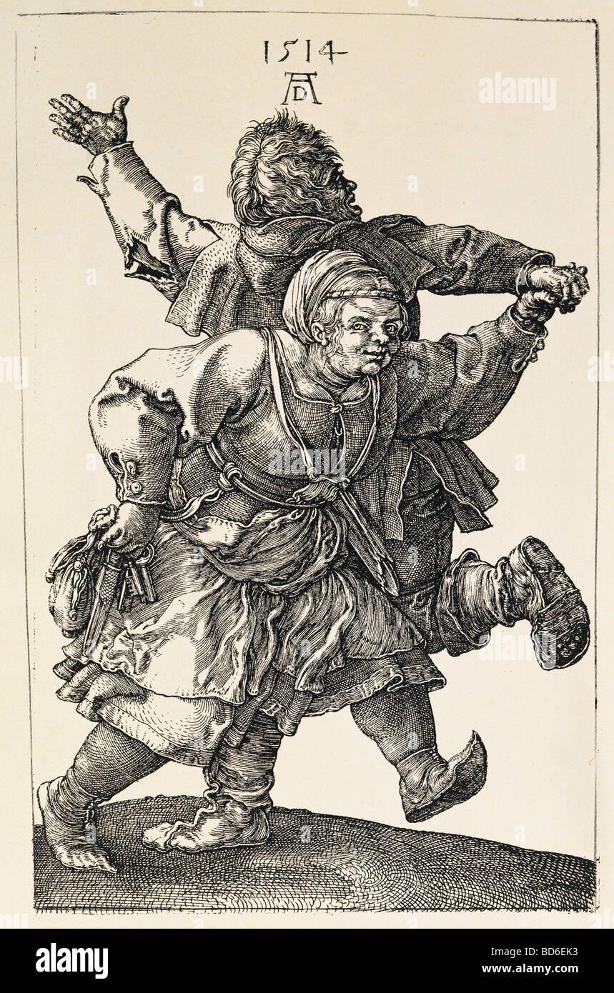 Tanz, tanz, tanz Bauernpaar, Kupferstich von Albrecht Dürer, 1514, Artist's Urheberrecht nicht geklärt Stockbild