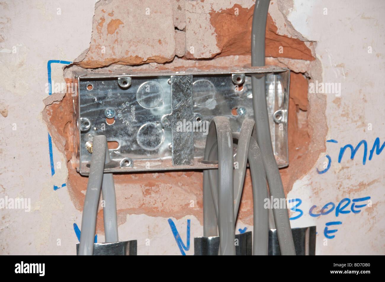 Neue Elektrische Verdrahtung In Einer Haus Renovierung Stockbild