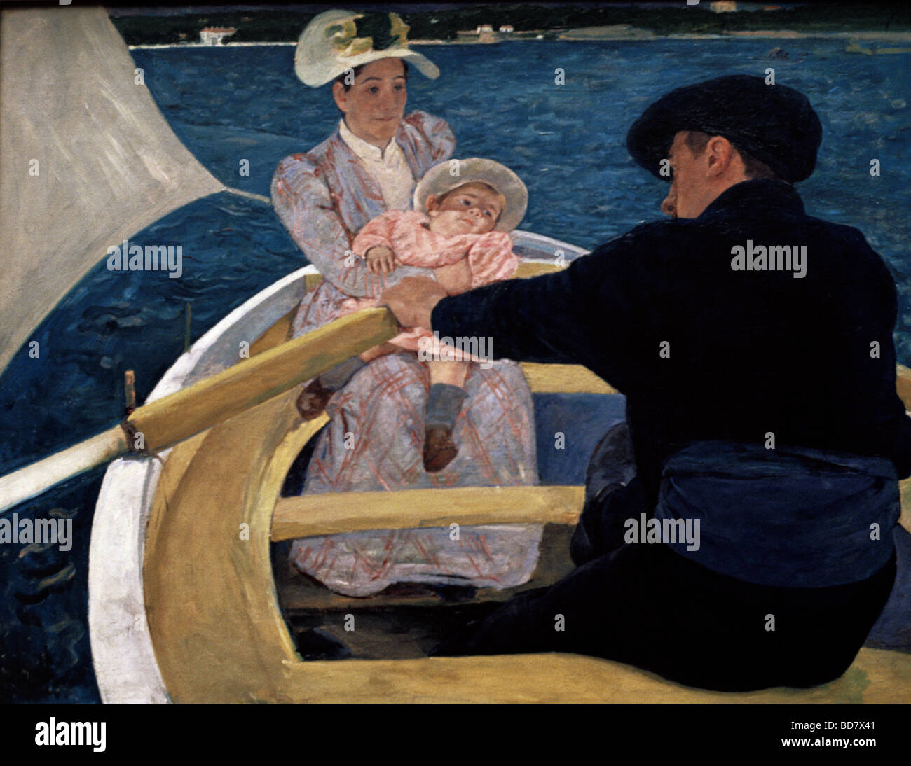"""Bildende Kunst, Cassatt, Mary, (1844 - 1926), Malerei, """"Bootsfahrt"""", Öl auf Leinwand, 90 x 188 cm, Stockbild"""