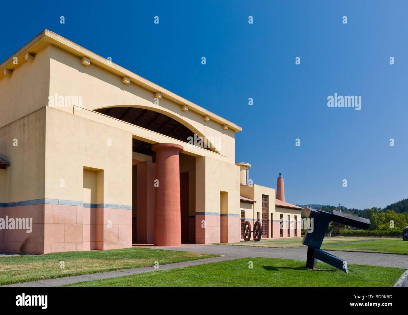 Clos Pegase Weingut, Calistoga, Napa Valley, Kalifornien, Michael Graves, Architekt. Stockbild