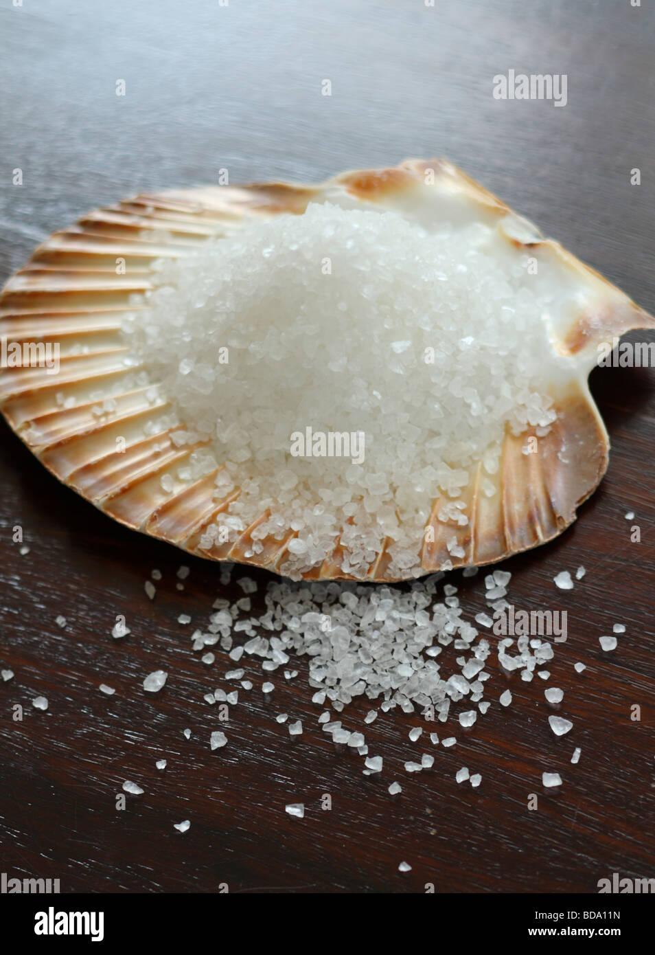 Meersalz in der Schale Stockbild
