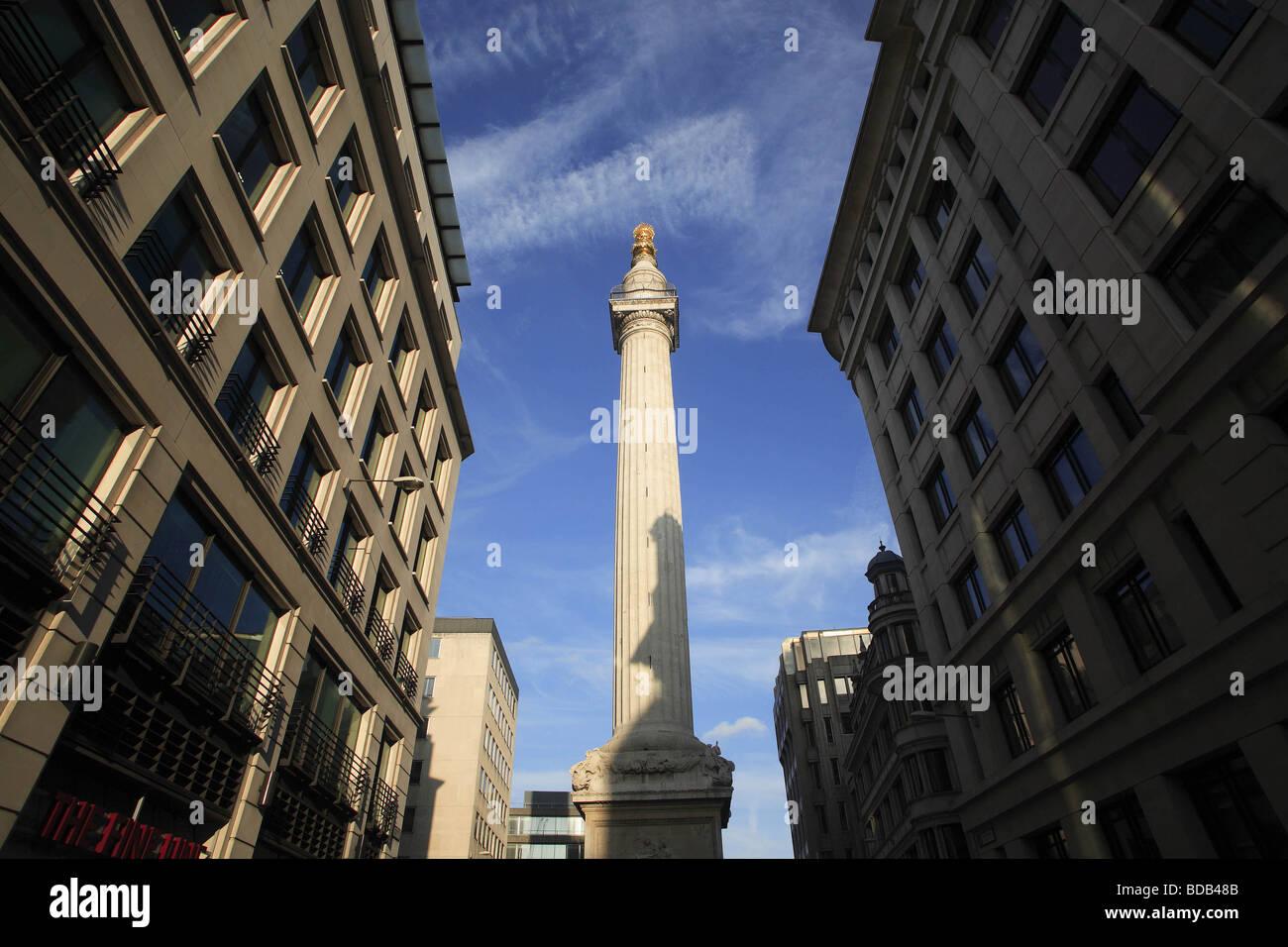 Das Denkmal für den großen Brand von London 1666 in Pudding Lane gegründet Stockbild
