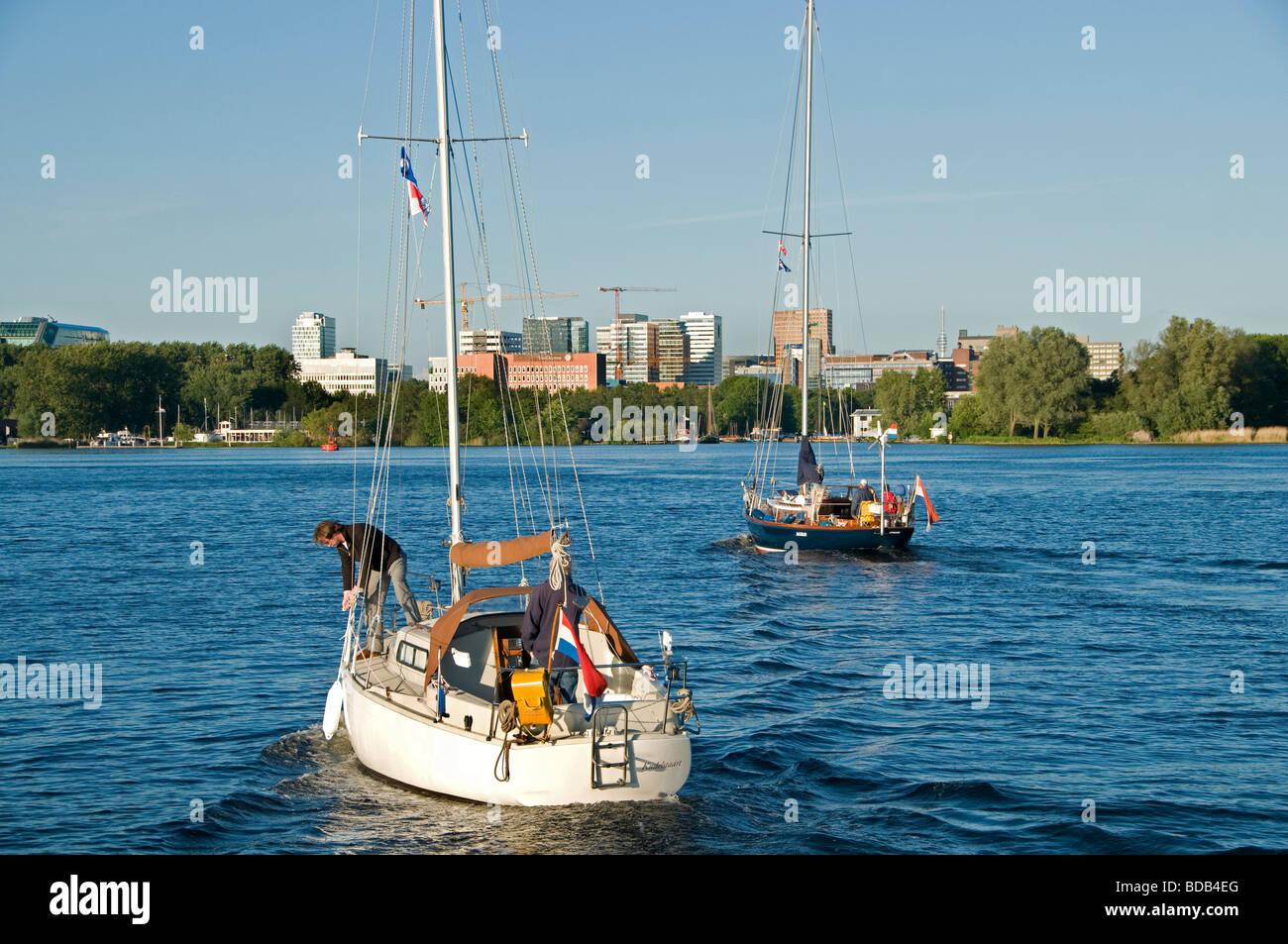 Segelboot Amsterdam Niederlande Het Nieuwe Meer Stockbild