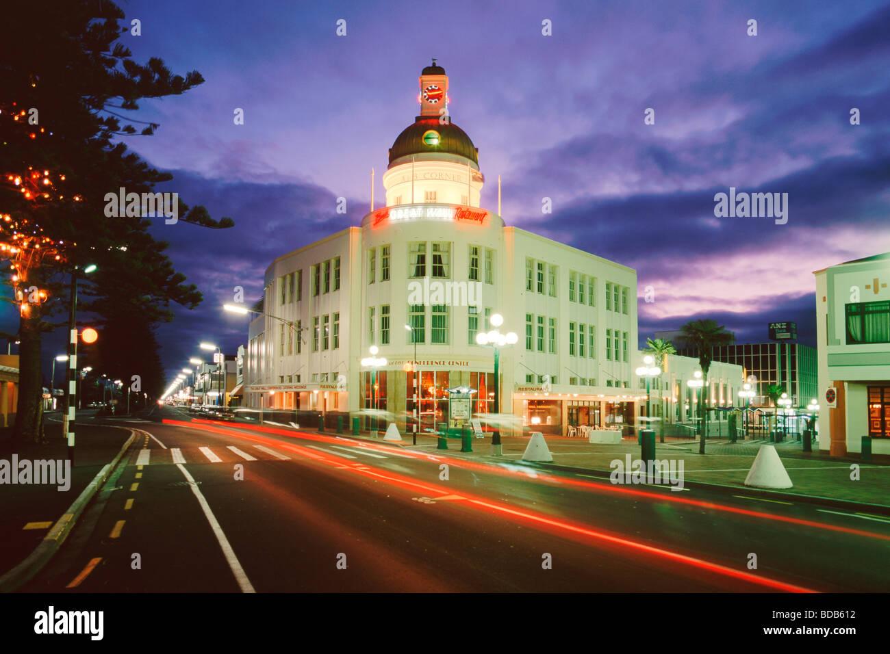 Neuseeland Südinsel Napier Jugendstil-Architektur in der Dämmerung Stockbild