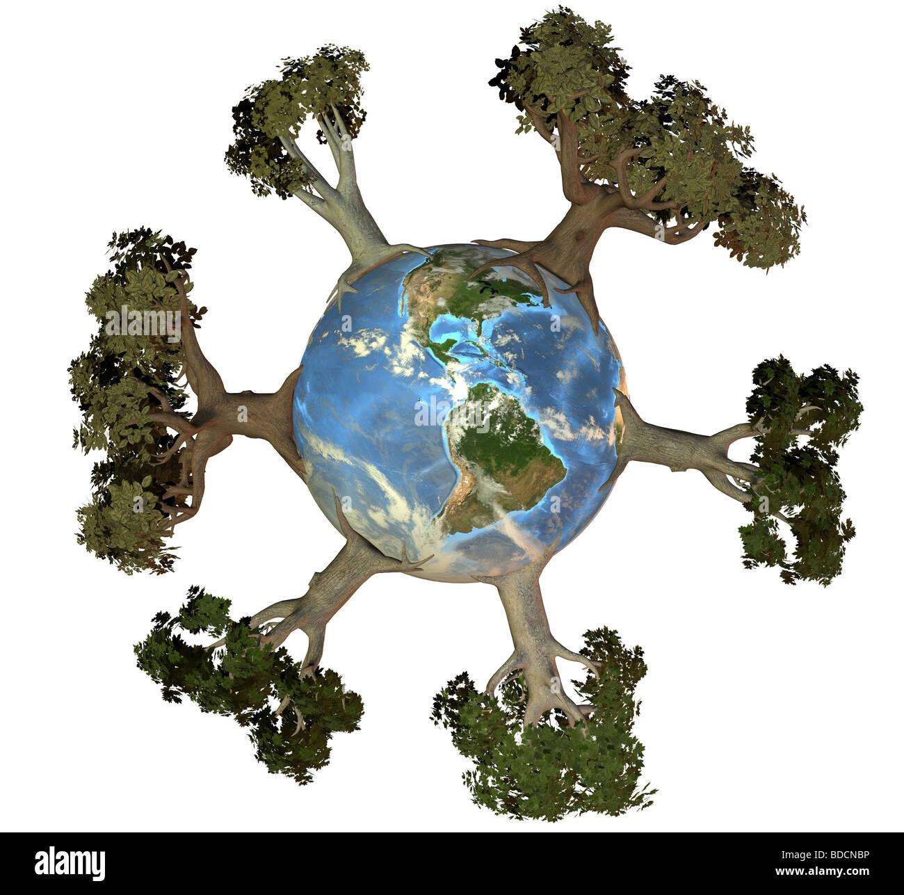 Erde mit Bäumen Amerika Stockbild