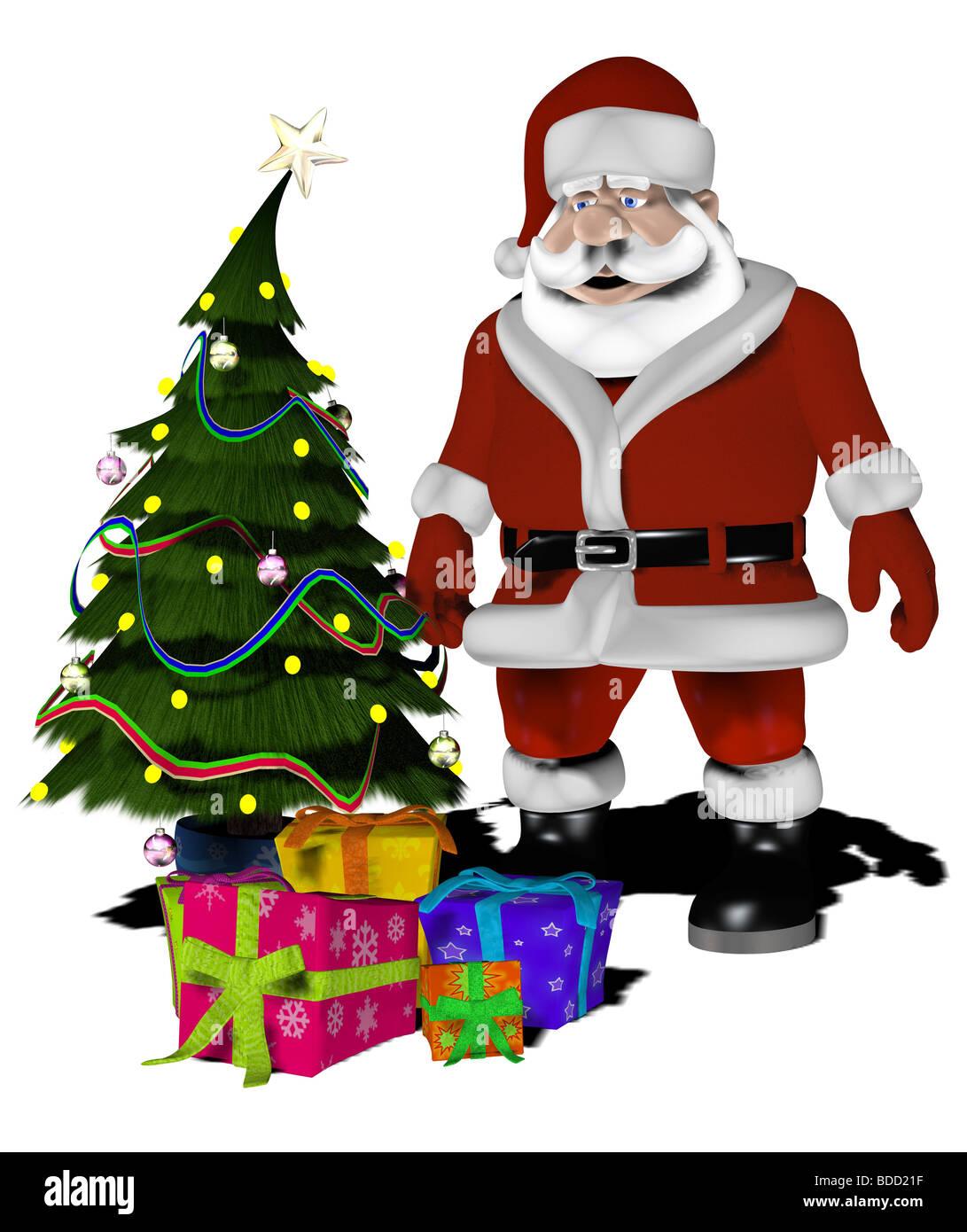 weihnachtsmann mit geschenken und weihnachtsbaum cartoon. Black Bedroom Furniture Sets. Home Design Ideas