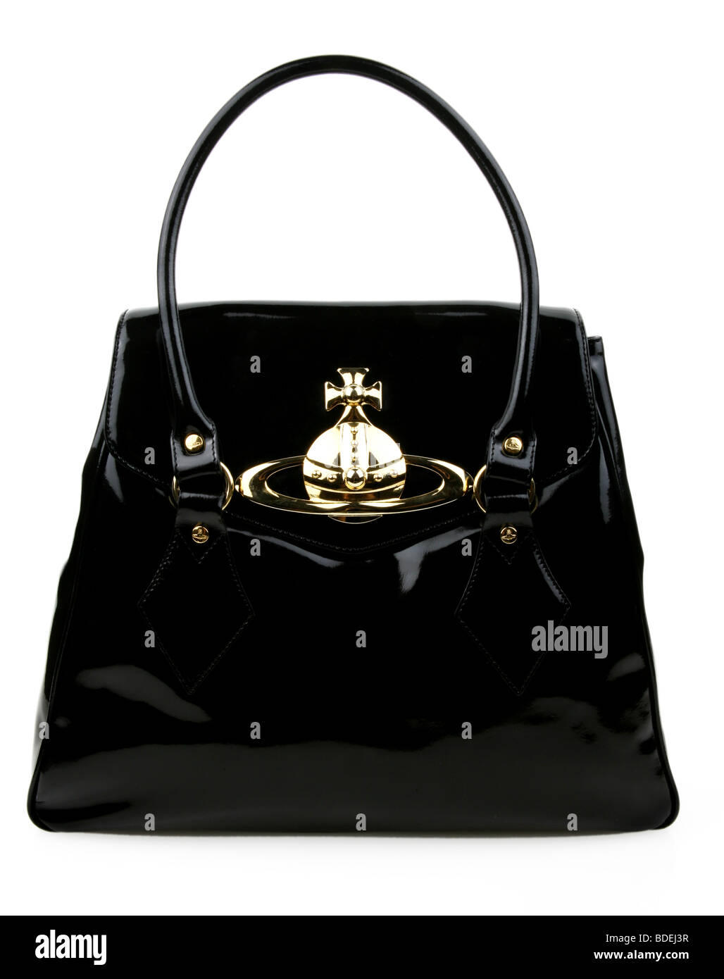 ac5a942b8b44f Vintage schwarze patent 50er Jahre Leder Handtasche Kelly Stil. Bild-ID   AX412J (RF). Vivienne Westwood Lackleder Tasche Stockbild