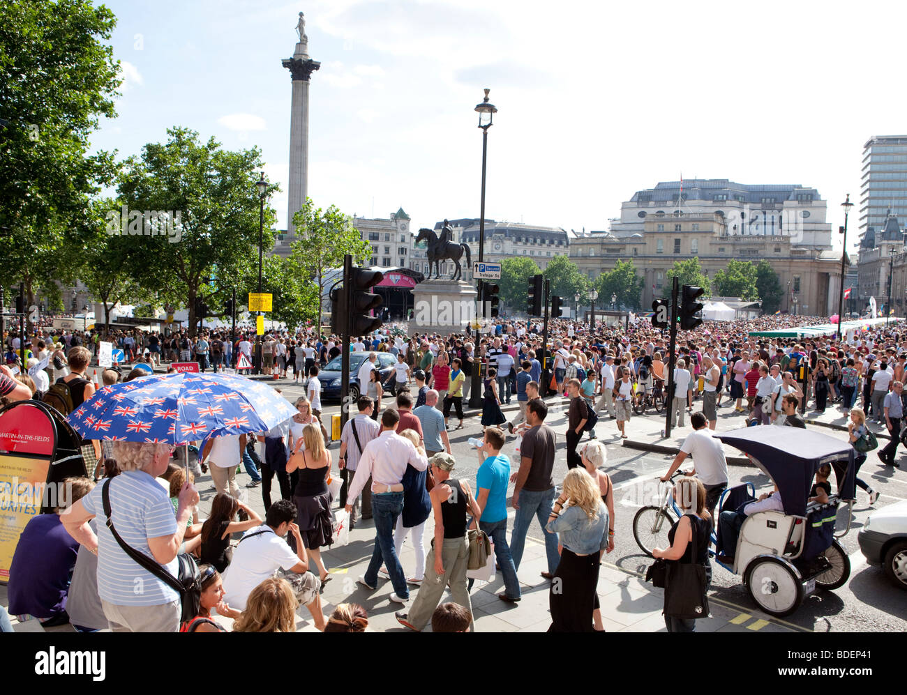 Gay-Pride März In Trafalgar Square In London UK Stockfoto