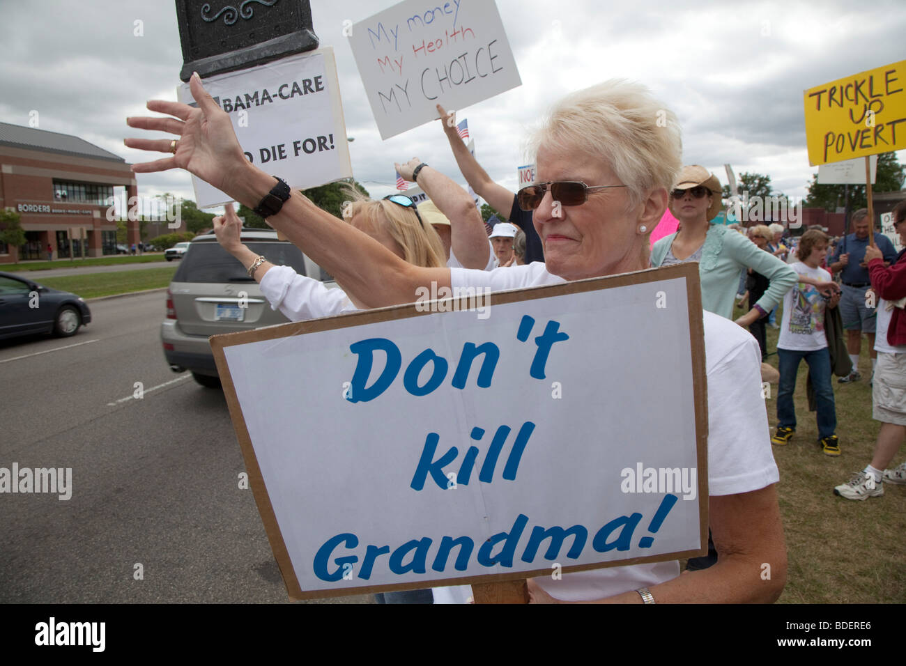 Gegner der Gesundheitsreform Stockbild