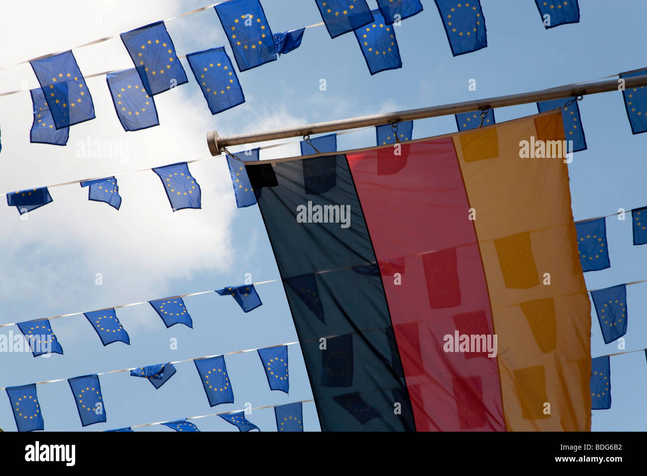 Deutsche Nationalflagge und Fähnchen, Europa-Tag in Münster, Nordrhein-Westfalen, Deutschland, Europa Stockbild