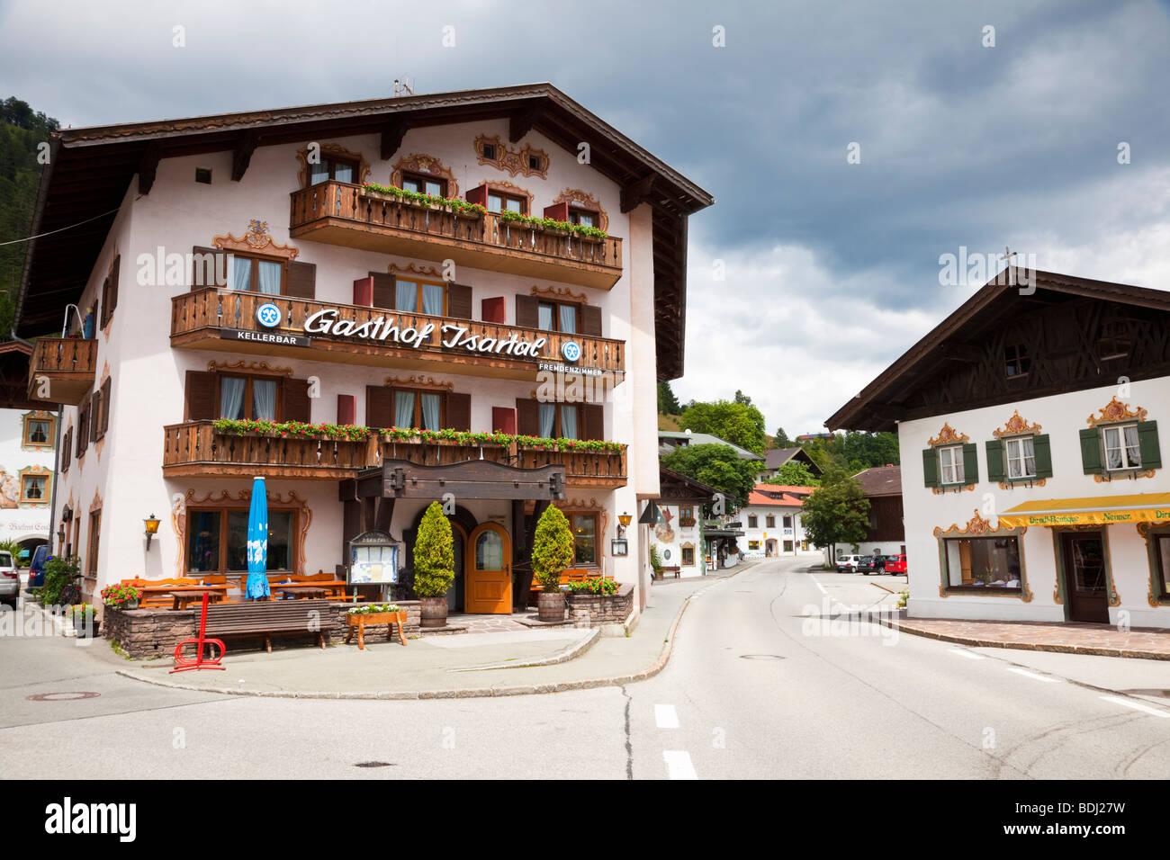 Eingerichtete Pension in Wallgau, Bayerische Alpen, Deutschland, Europa Stockbild