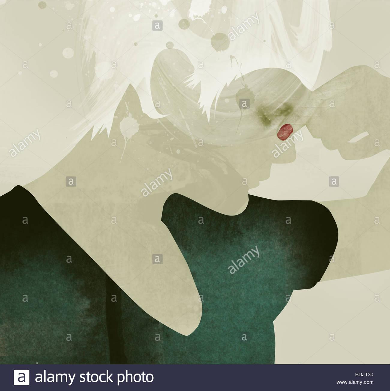 Frau mit Augen geschlossen kneifen Nase Stockbild