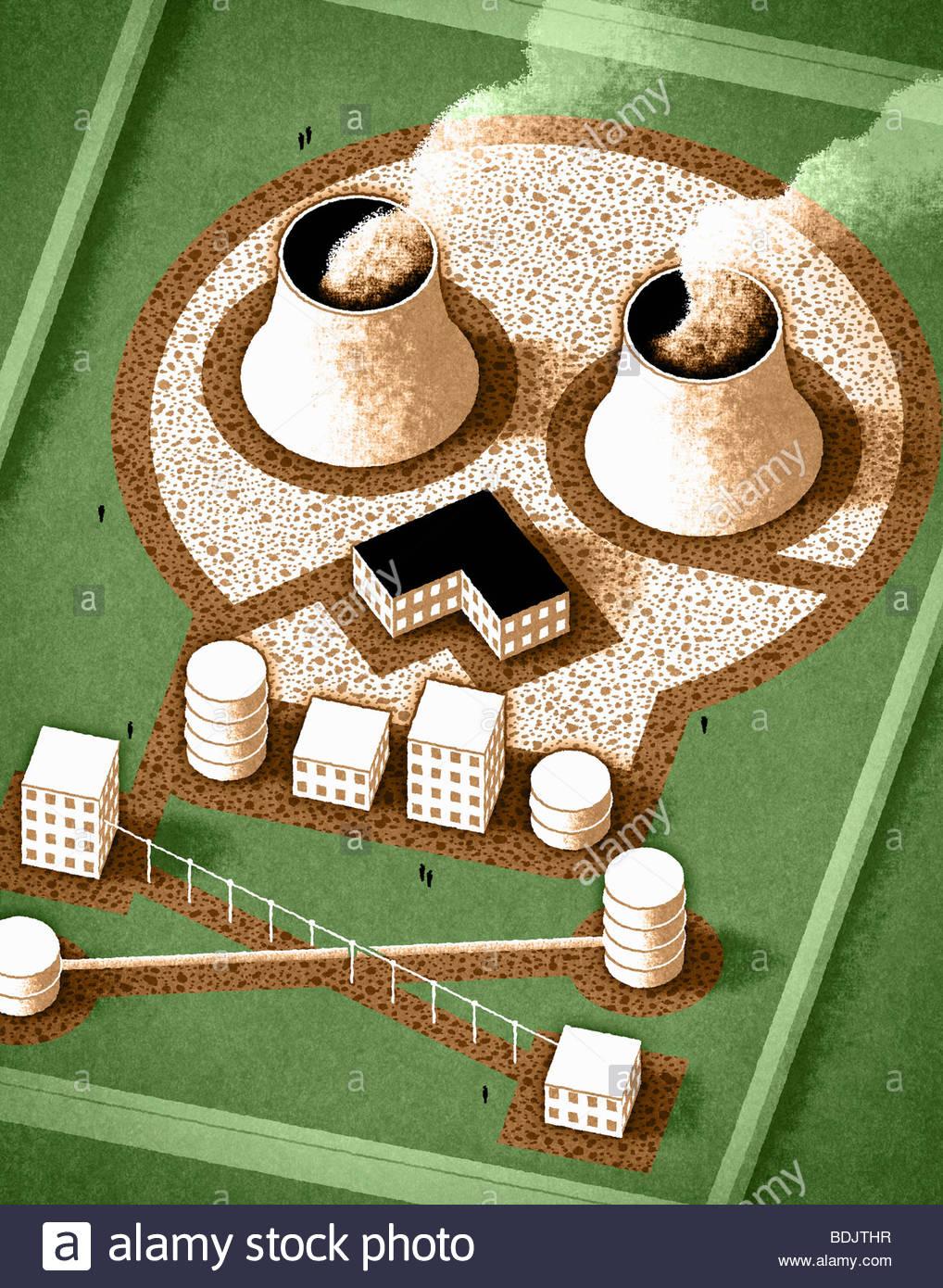 Nukleare Fabrik in Form der Totenkopf Stockfoto