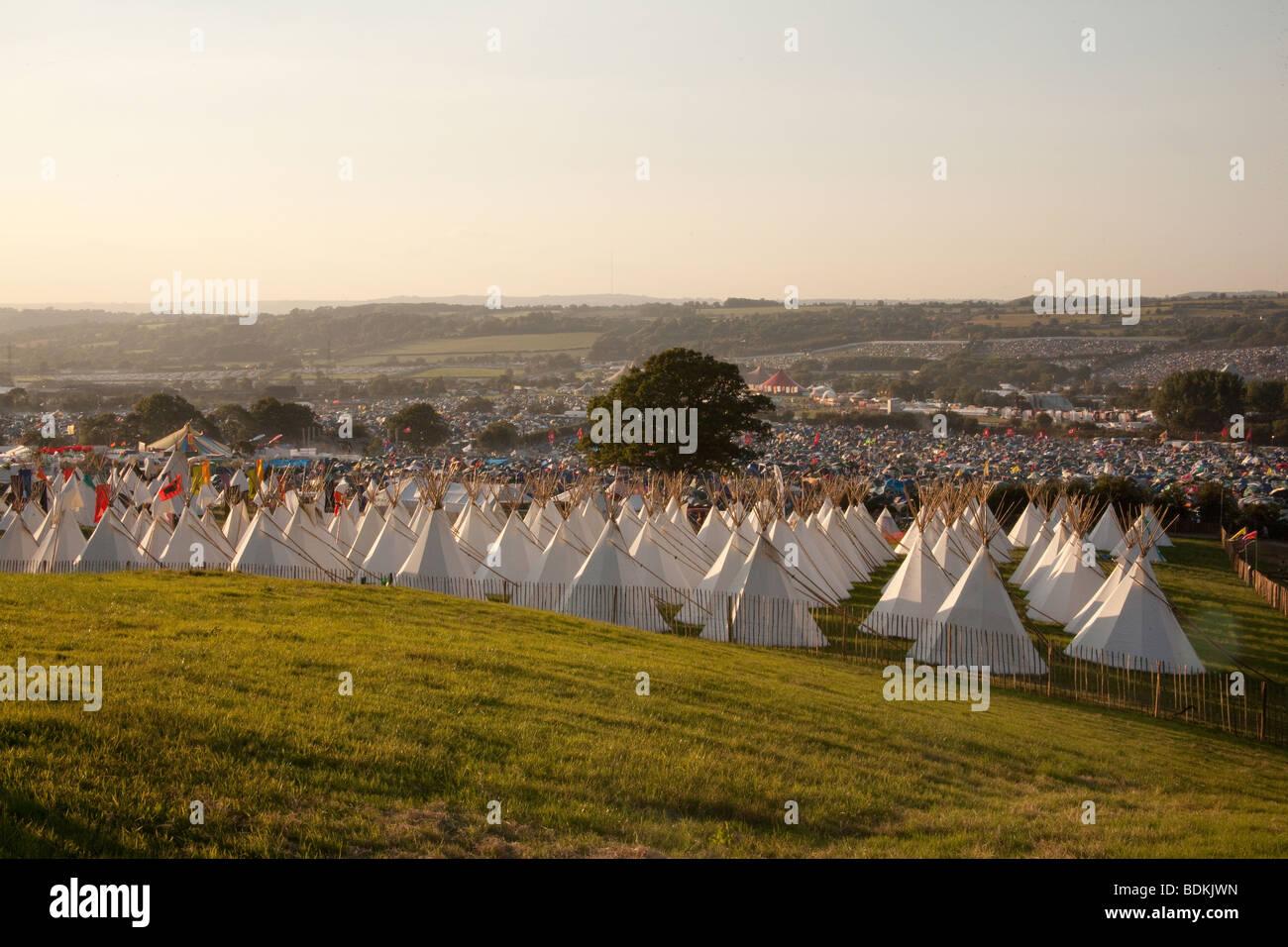 Der Steinkreis auf dem Glastonbury Festival 2009 Stockbild
