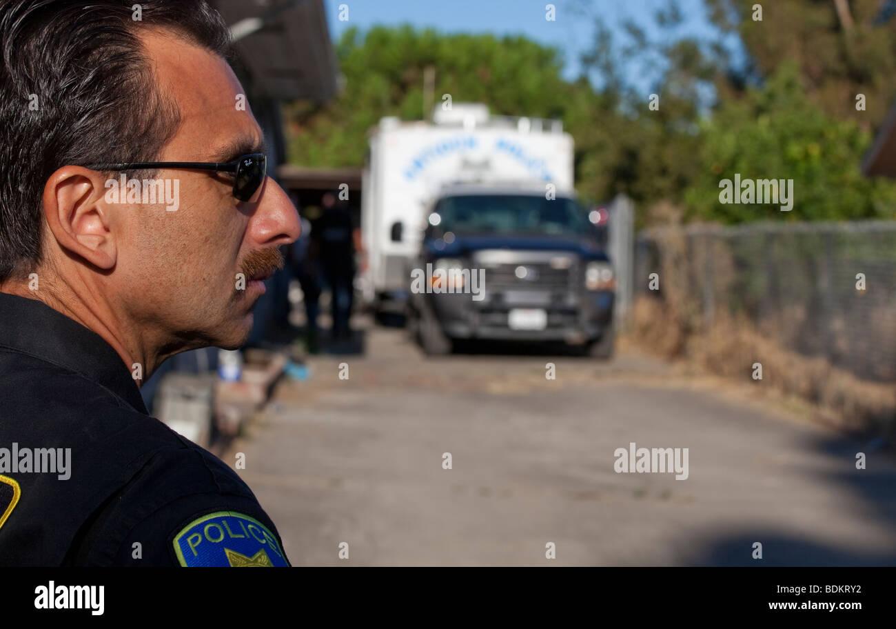"USA amerikanischer Polizist ""Tatort"" Stockbild"
