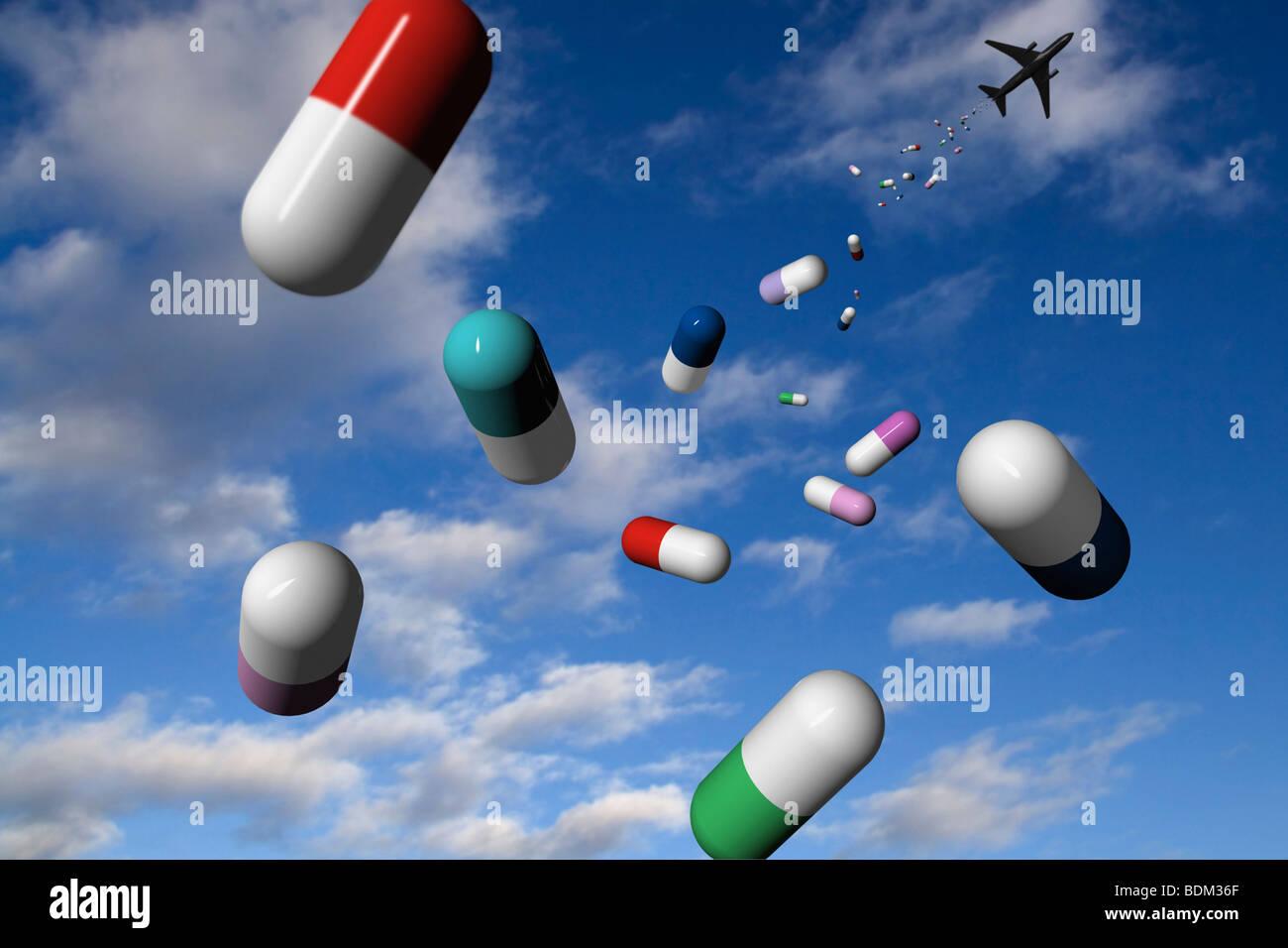 "Ein Flugzeug drops"""" Medizin vom Himmel als Hilfe. CGI-Bild Stockfoto"