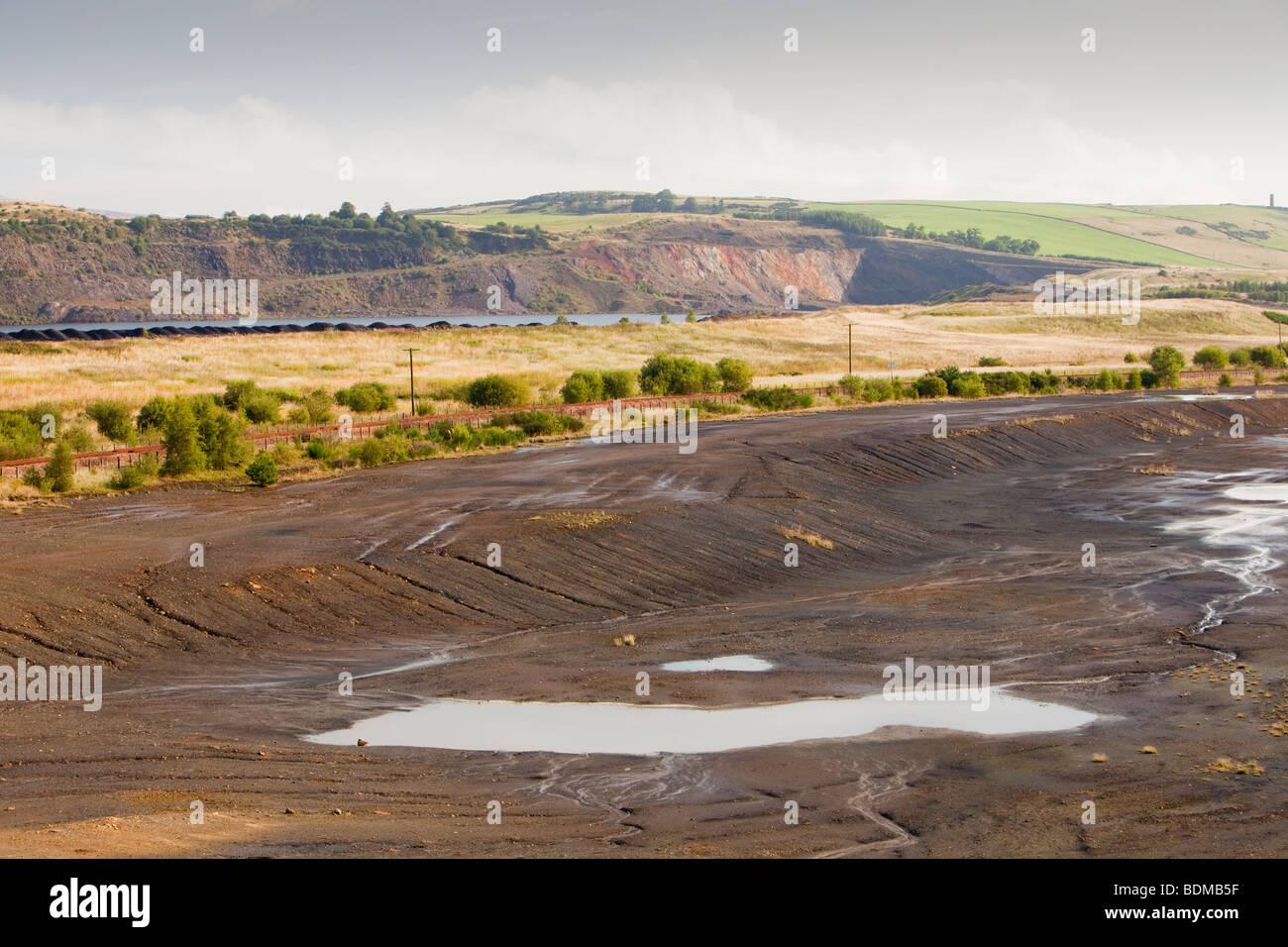Verwöhnen Sie links vom Tagebau Kohle Bergbau an der verlassenen Westfield mir in Perth und Kinross, Schottland, Stockbild