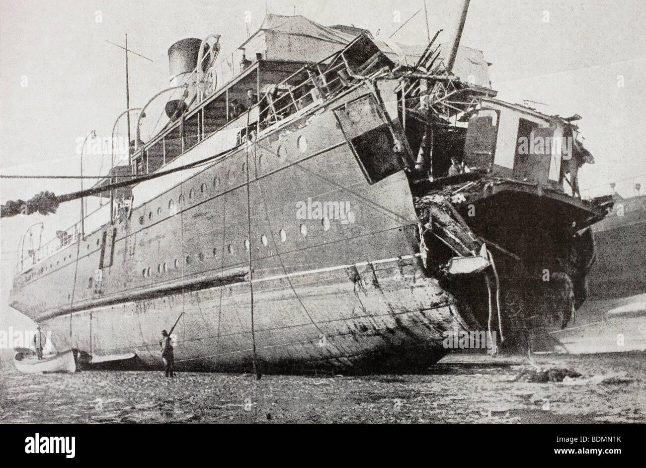 Das französische Passagierschiff Sussex, nachdem sie im März 1916 torpediert wurde. Stockbild