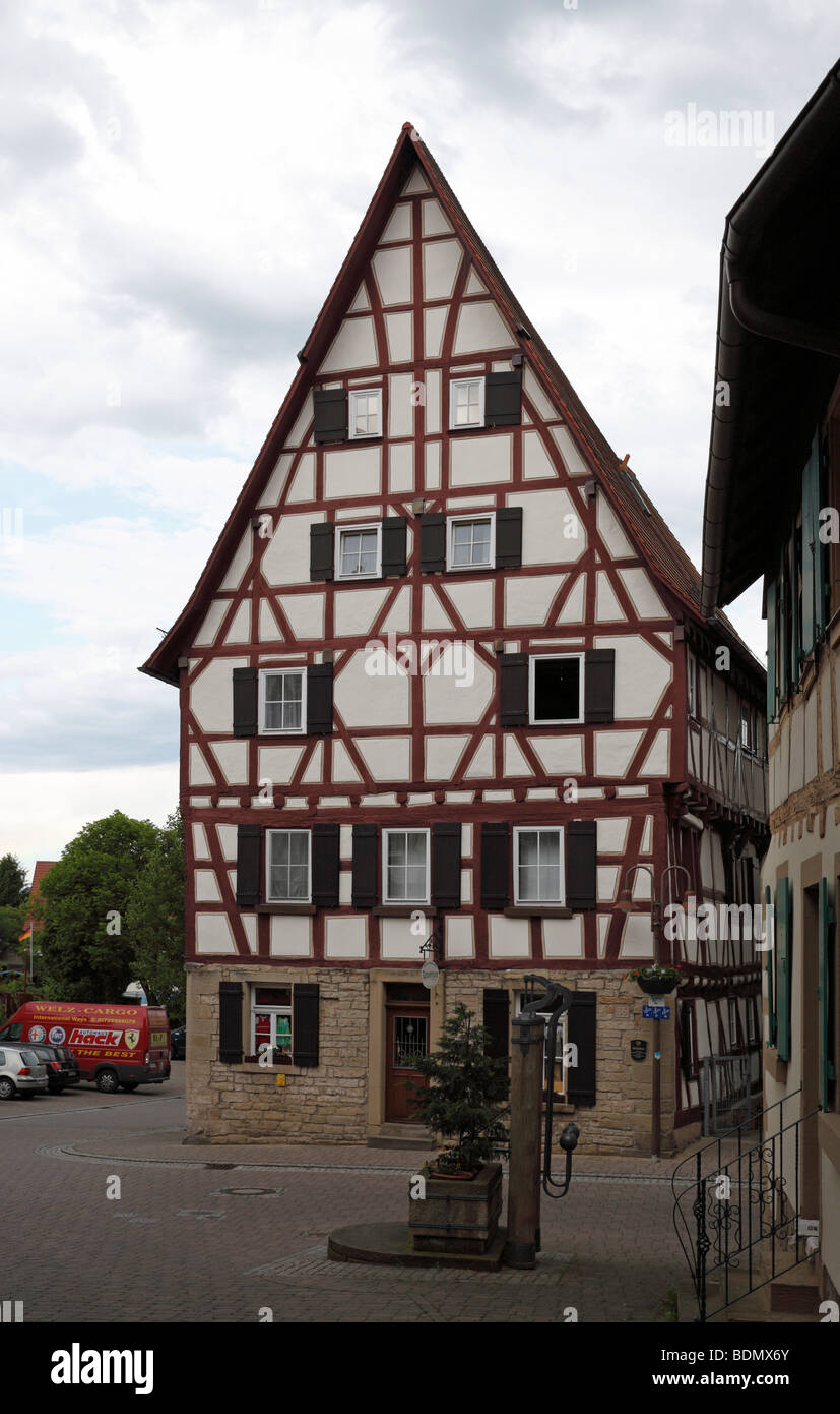 Eppingen, Bäckerhaus aus Dem 15. Halbmonatsschrift Stockbild