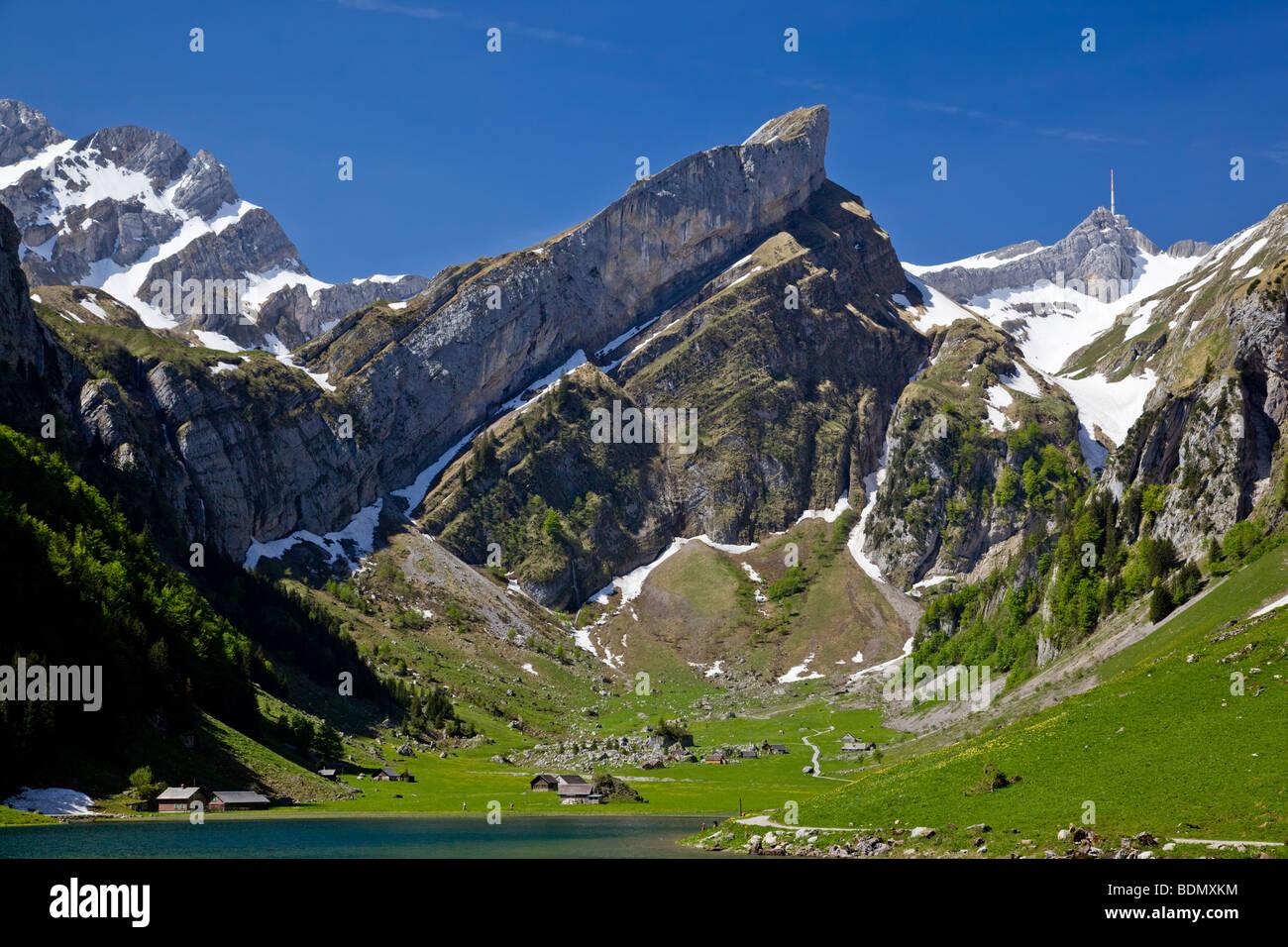 Der Säntis, höchste Gipfel von Appenzell mit 2502m aus der Seealpsee, Schweiz Stockbild