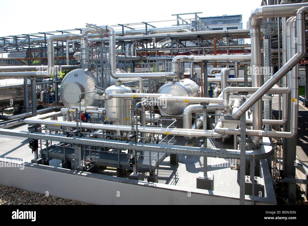 Empfänger-Tank auf dem Gelände des Pharmaunternehmens Boehringer Ingelheim GmbH, Ingelheim, Rheinland Stockbild