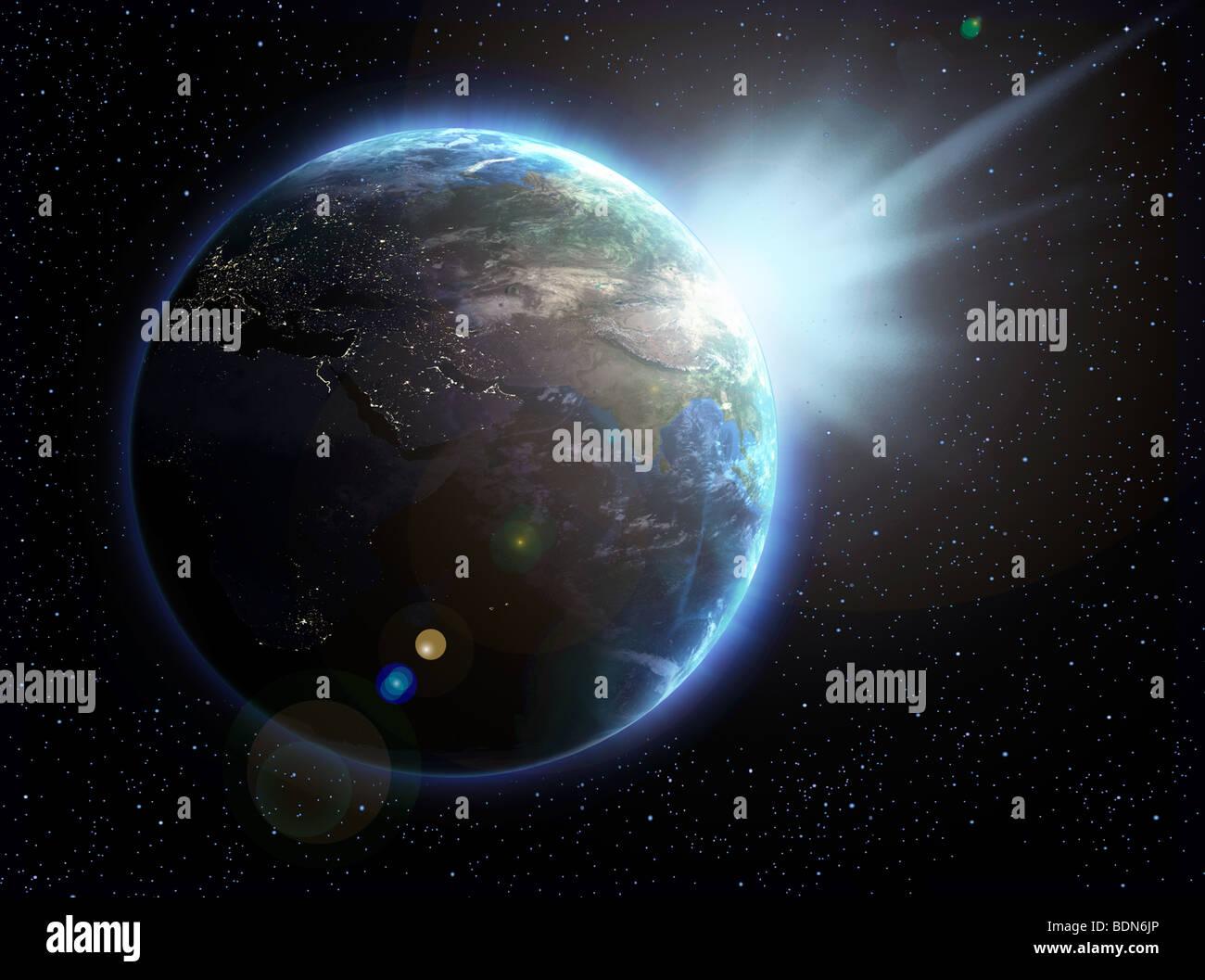 Erde und Sonne, Illustration Stockbild