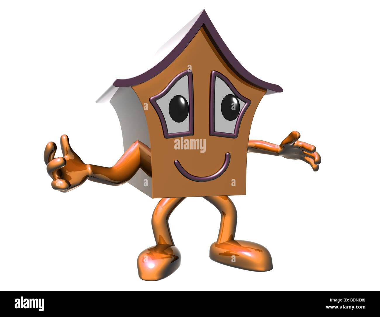 Isolierte Abbildung eines Hauses sehr zufrieden cartoon Stockbild