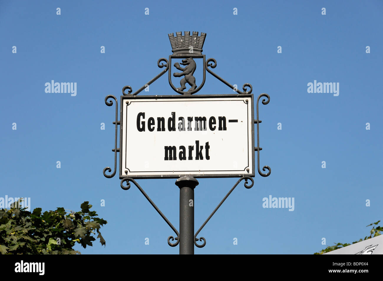 Zeichen, Gendarmenmarkt quadratisch, Bundeshauptstadt Berlin, Deutschland, Europa Stockbild