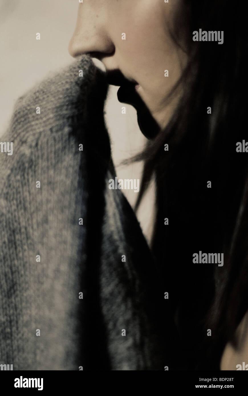 Das Profil von einem jungen Womans Gesicht Stockbild